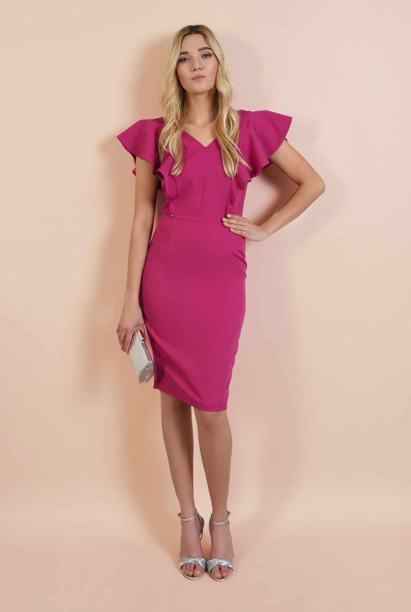 3 - rochie conica, eleganta, magenta, cu volane, cu anchior, midi, Poema
