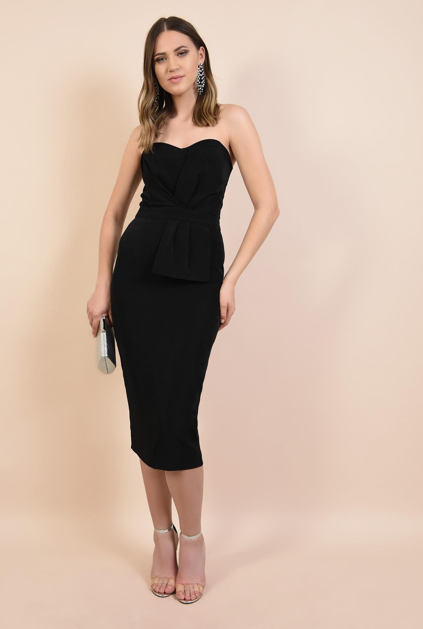 3 - rochie de seara, bodycon, croi conic, corset cu funda, neagra