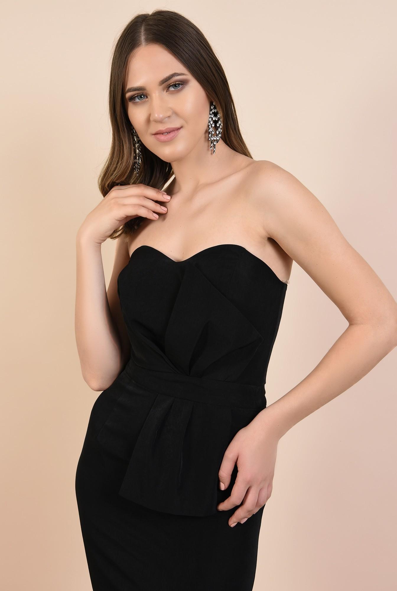 2 - rochie de seara, bodycon, croi conic, corset cu funda, neagra