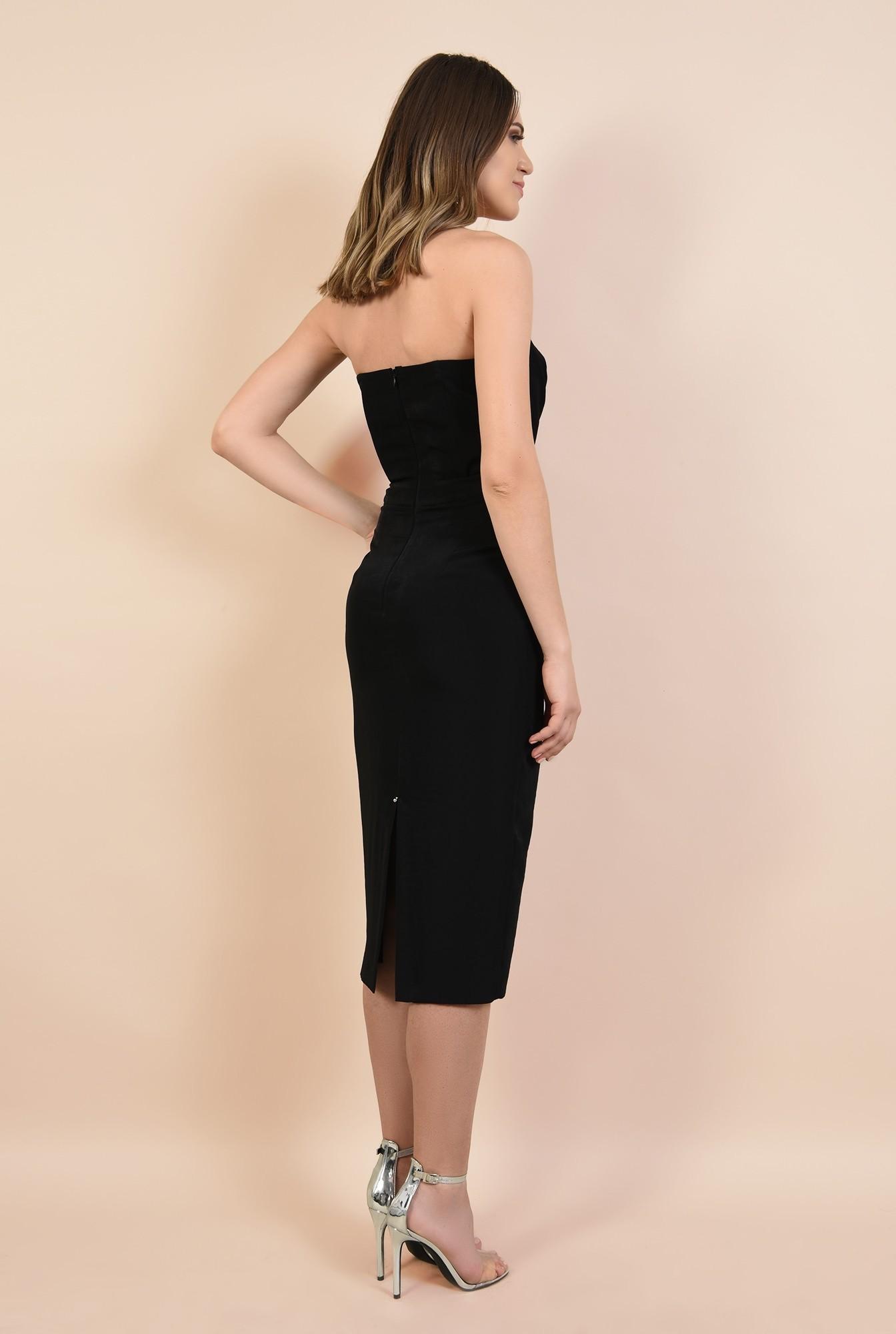 1 - rochie de seara, bodycon, croi conic, corset cu funda, neagra