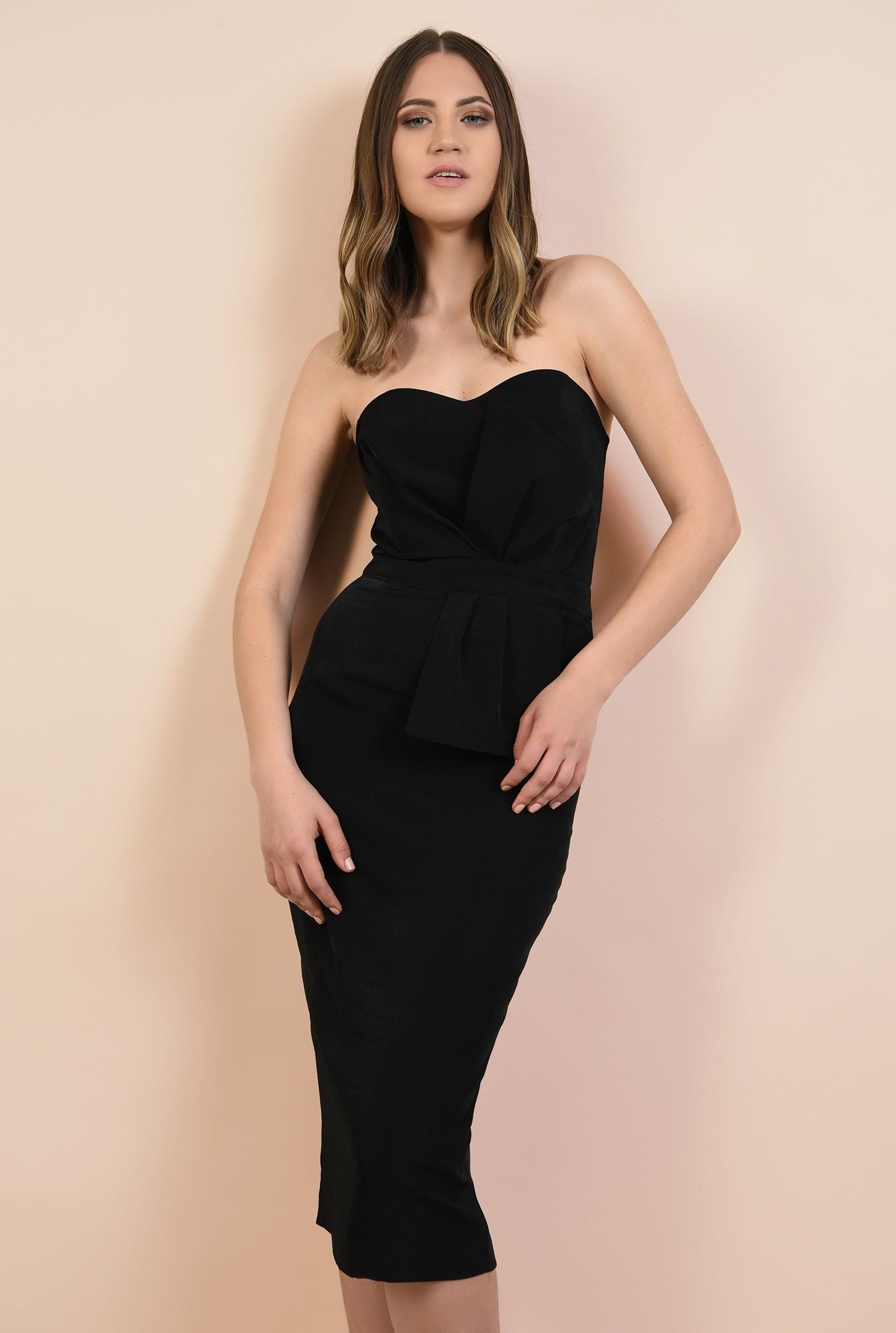 0 - rochie de seara, bodycon, croi conic, corset cu funda, neagra