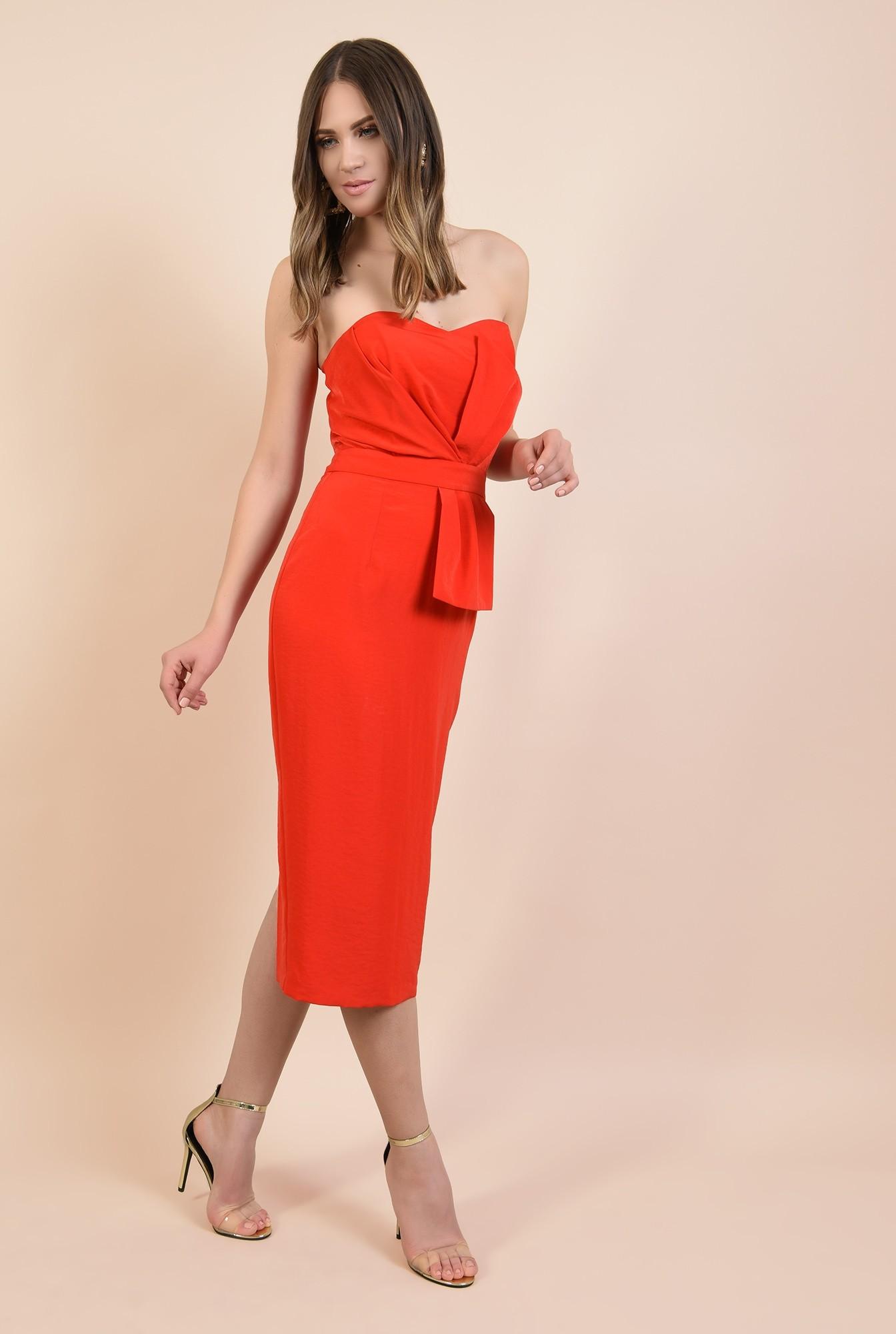 3 - rochie rosie, de ocazie, midi, conica, funda supradimensionata