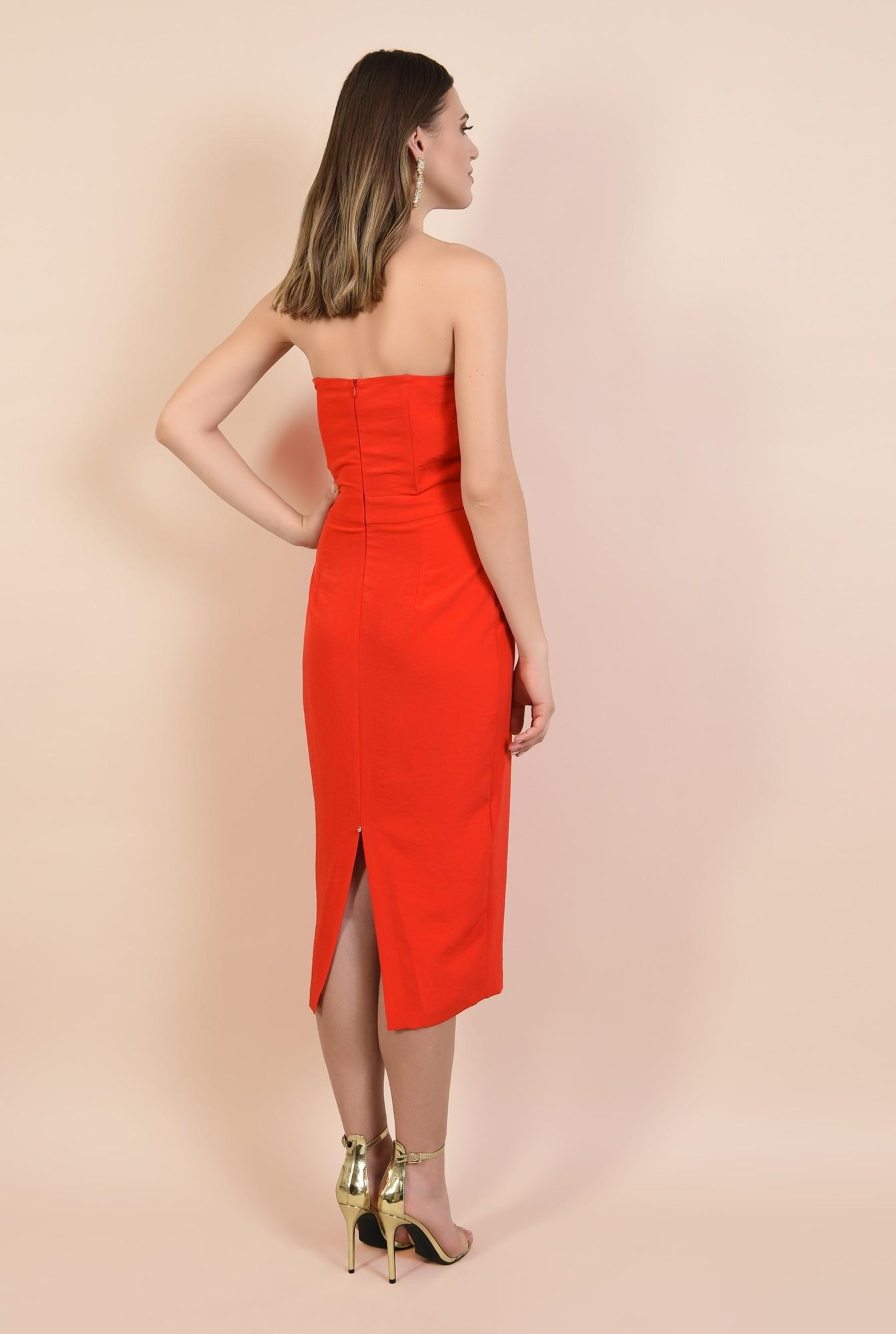 1 - rochie rosie, de ocazie, midi, conica, funda supradimensionata
