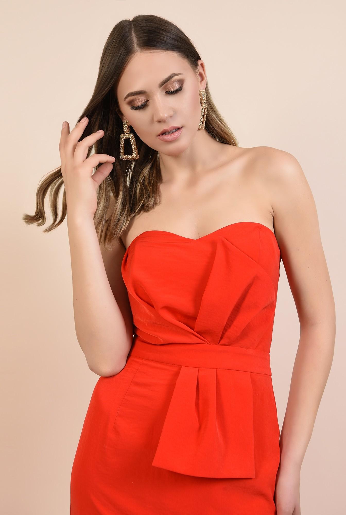 2 - rochie rosie, de ocazie, midi, conica, funda supradimensionata