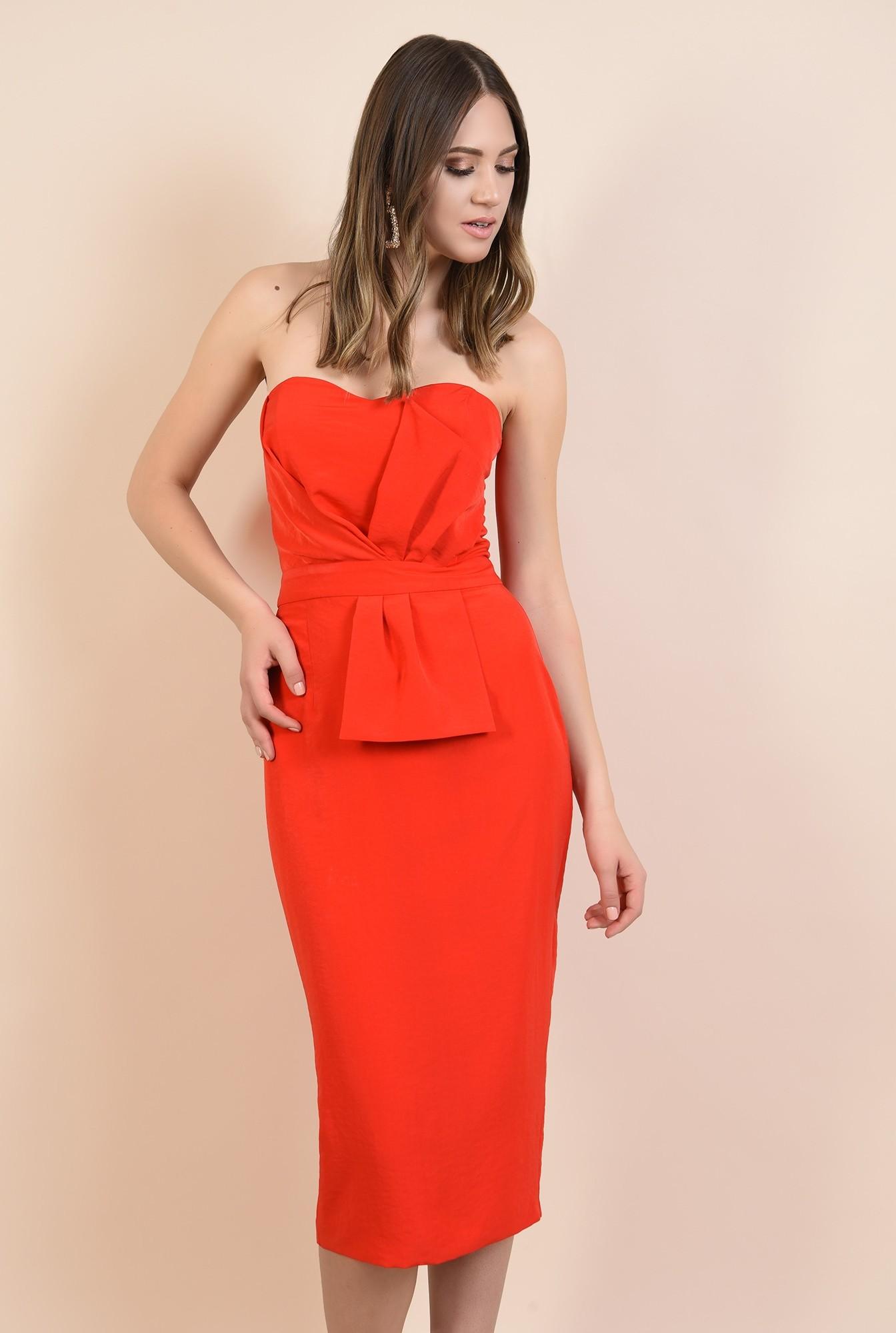 0 - rochie rosie, de ocazie, midi, conica, funda supradimensionata