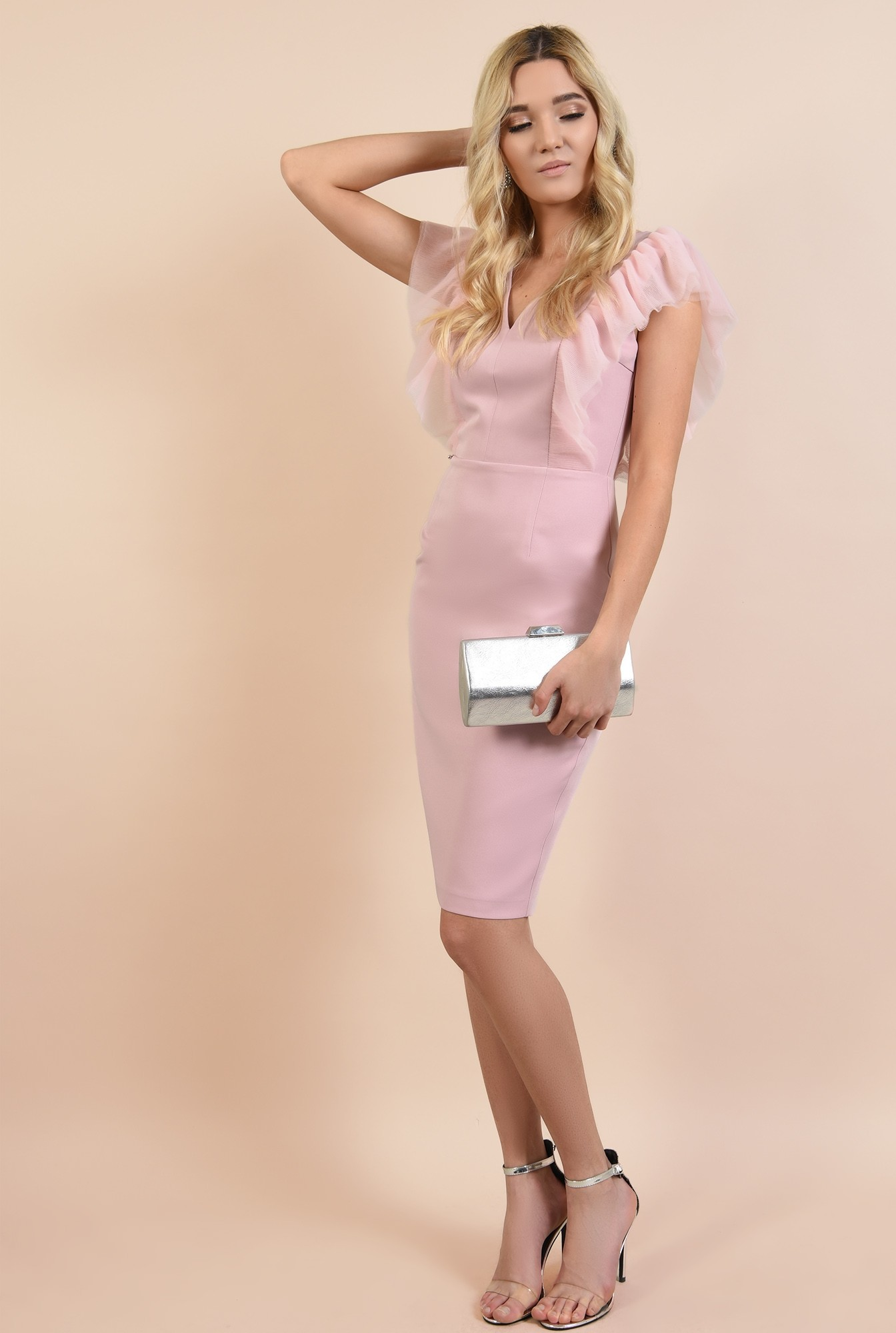 3 - rochie de seara, roz, bodycon, anchior, cusatura in talie, Poema