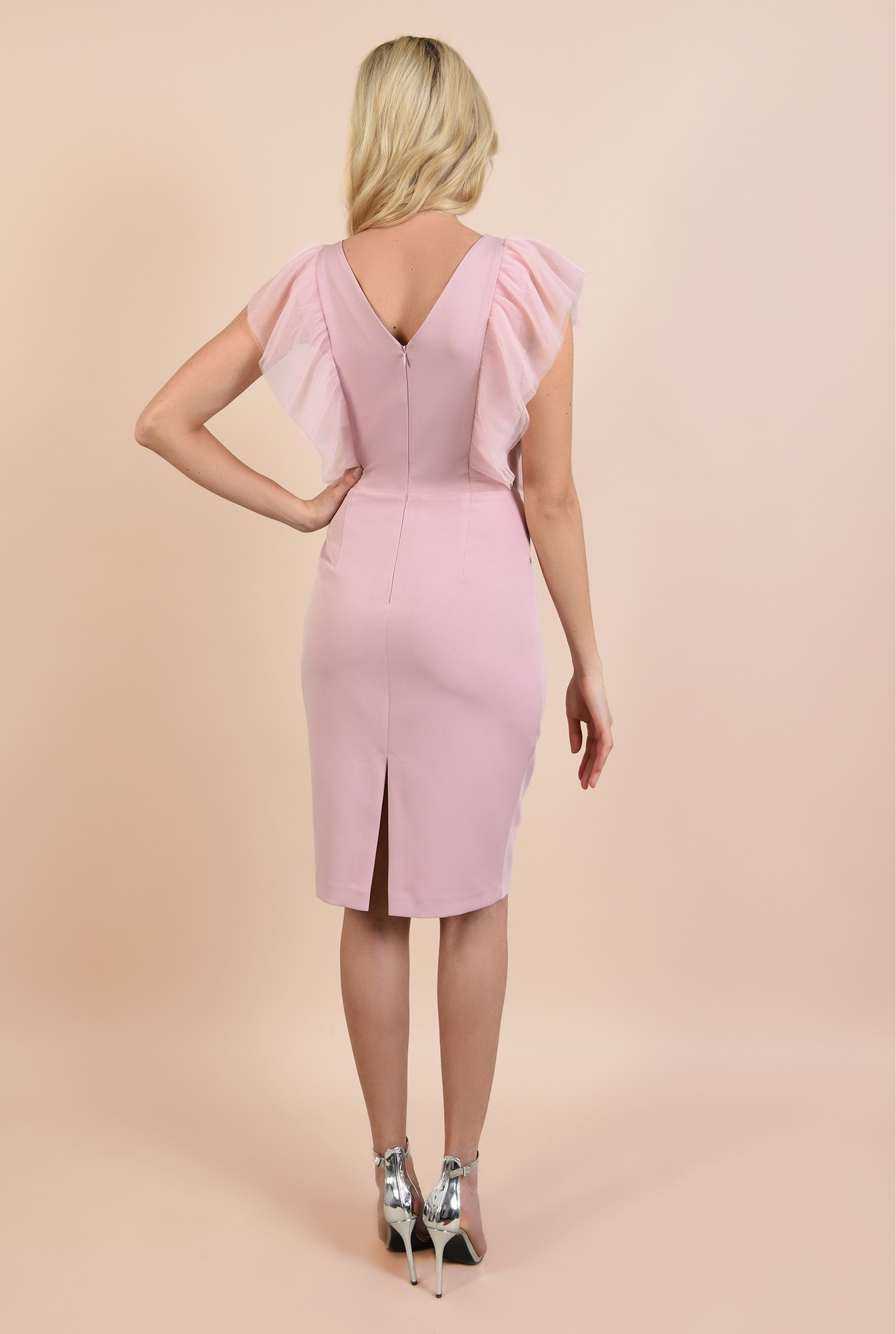 1 - rochie de seara, roz, bodycon, anchior, cusatura in talie, Poema