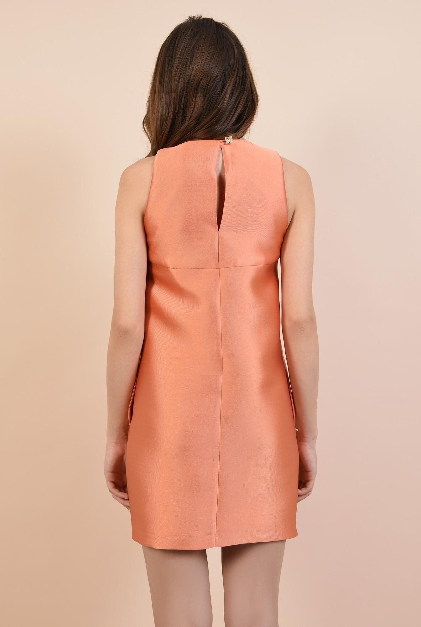 1 - rochie eleganta, mini, lejera, pliu decorativ, fara maneci, decolteu la baza gatului
