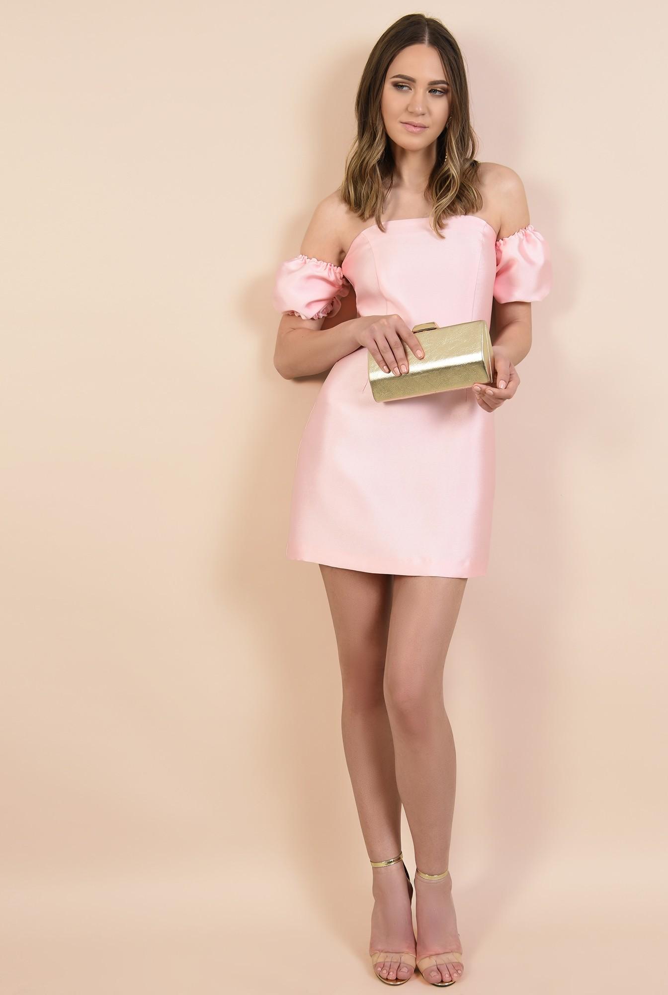3 - rochie de seara, din tafta roz, mini, croi cambrat, Poema, rochii online