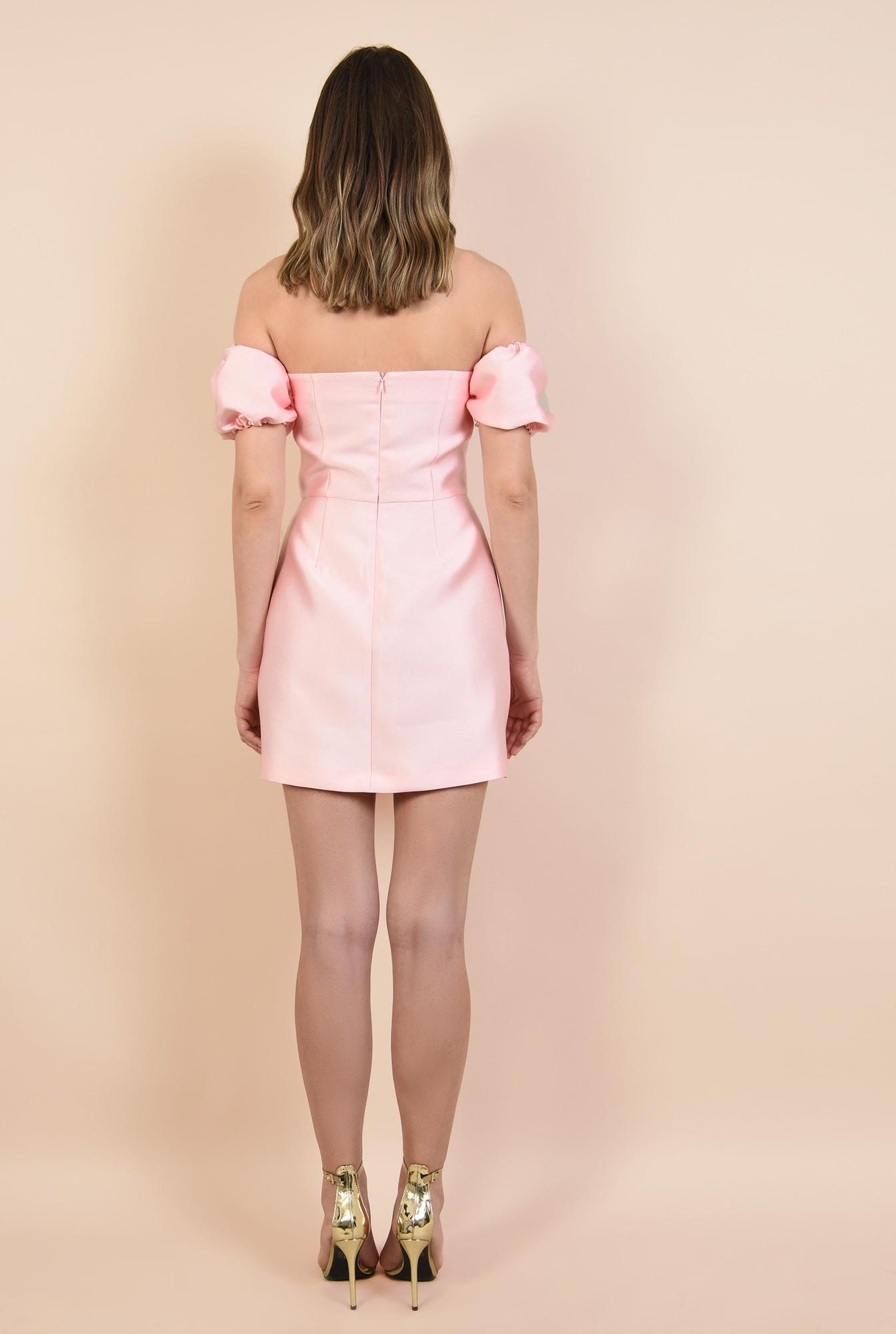 1 - rochie de seara, din tafta roz, mini, croi cambrat, Poema, rochii online