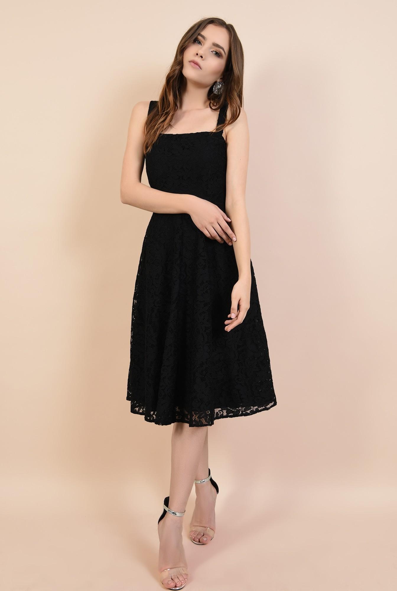 3 - rochie de ocazie, neagra, din dantela, cu bretele, croi evazat, Poema