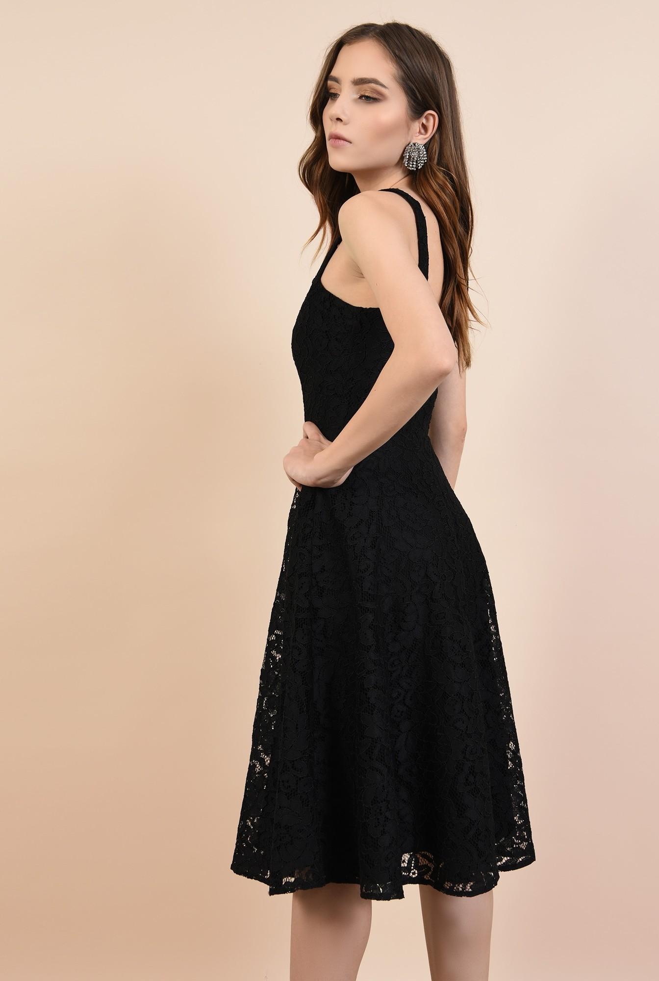 1 - rochie de ocazie, neagra, din dantela, cu bretele, croi evazat, Poema