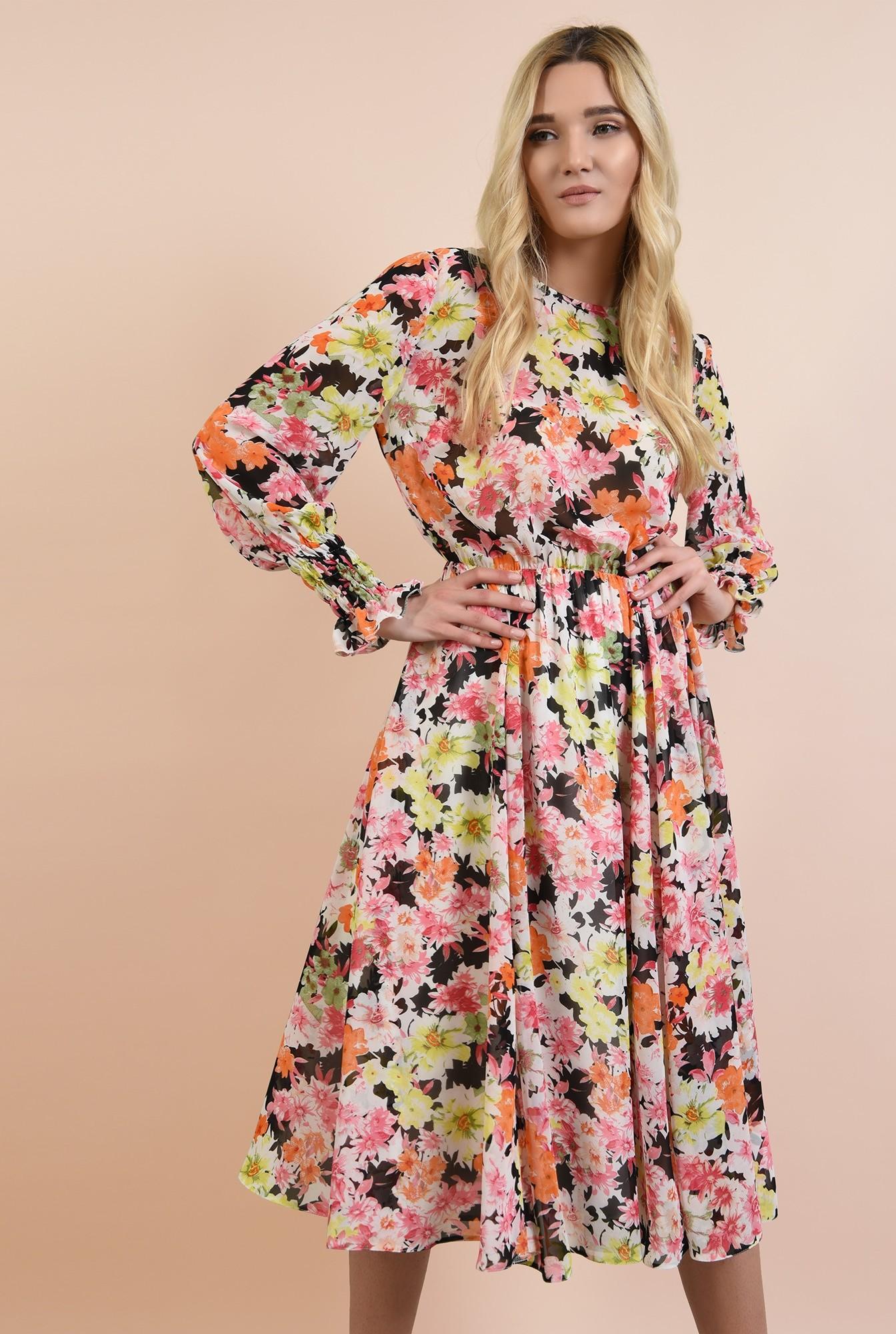 0 - rochie casual, pe bie, cu imprimeu floral, maneci lungi cu mansete elastice