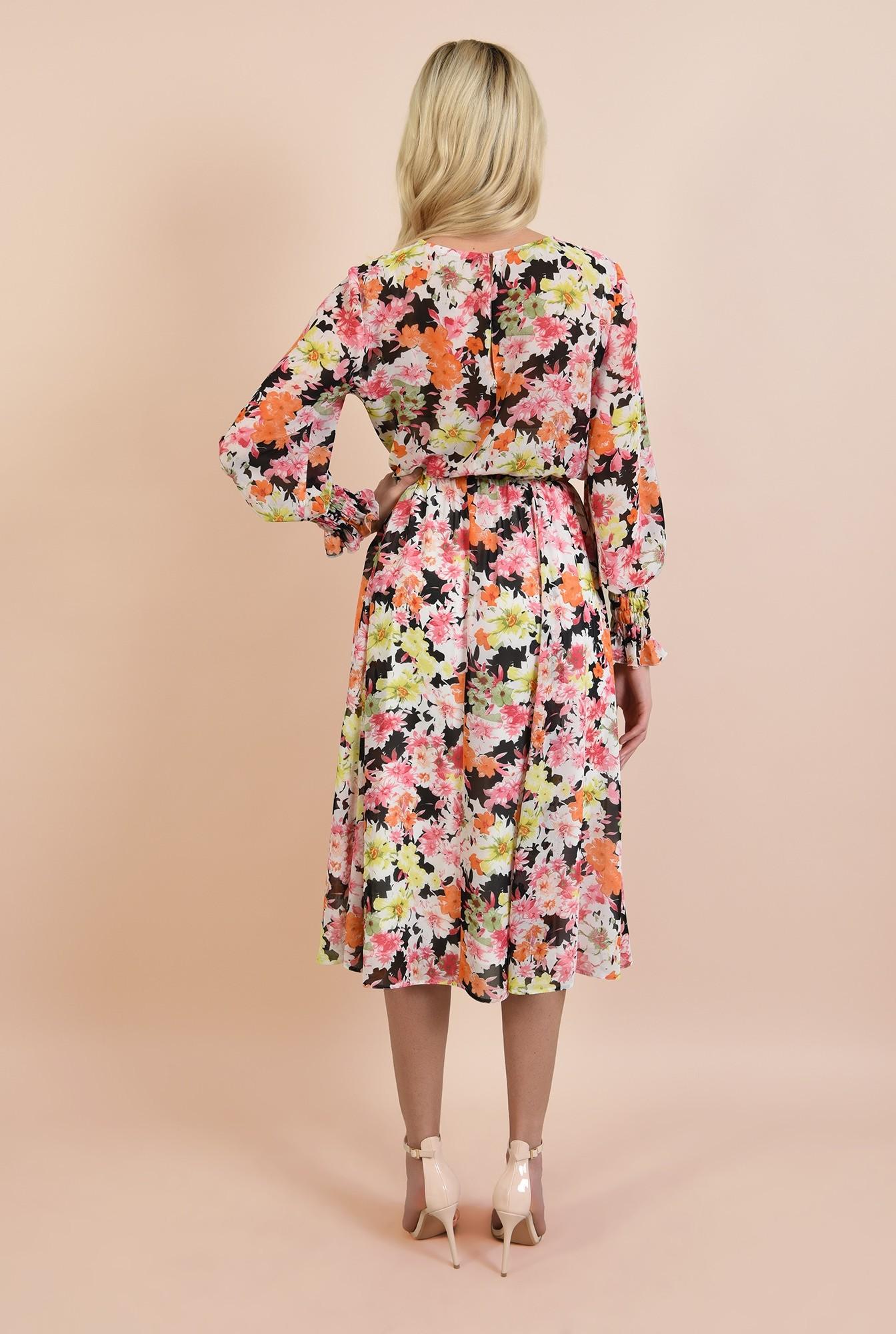 1 - rochie casual, pe bie, cu imprimeu floral, maneci lungi cu mansete elastice