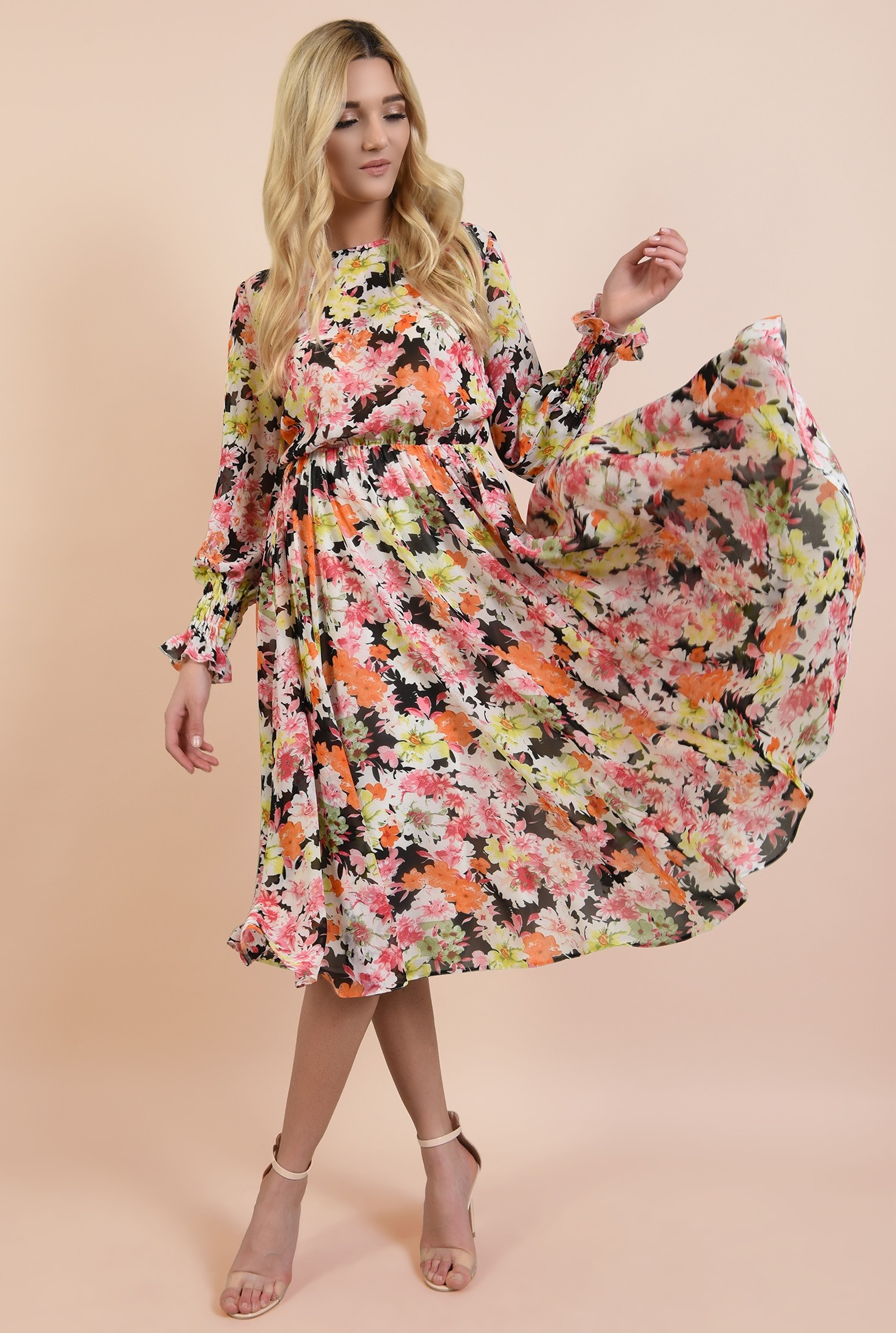 3 - rochie casual, pe bie, cu imprimeu floral, maneci lungi cu mansete elastice