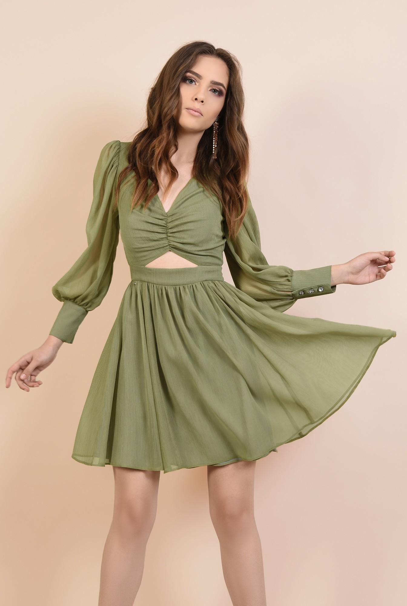 0 - 360 - rochie eleganta, din voal creponat, kaki, scurta, cu decupaj la talie