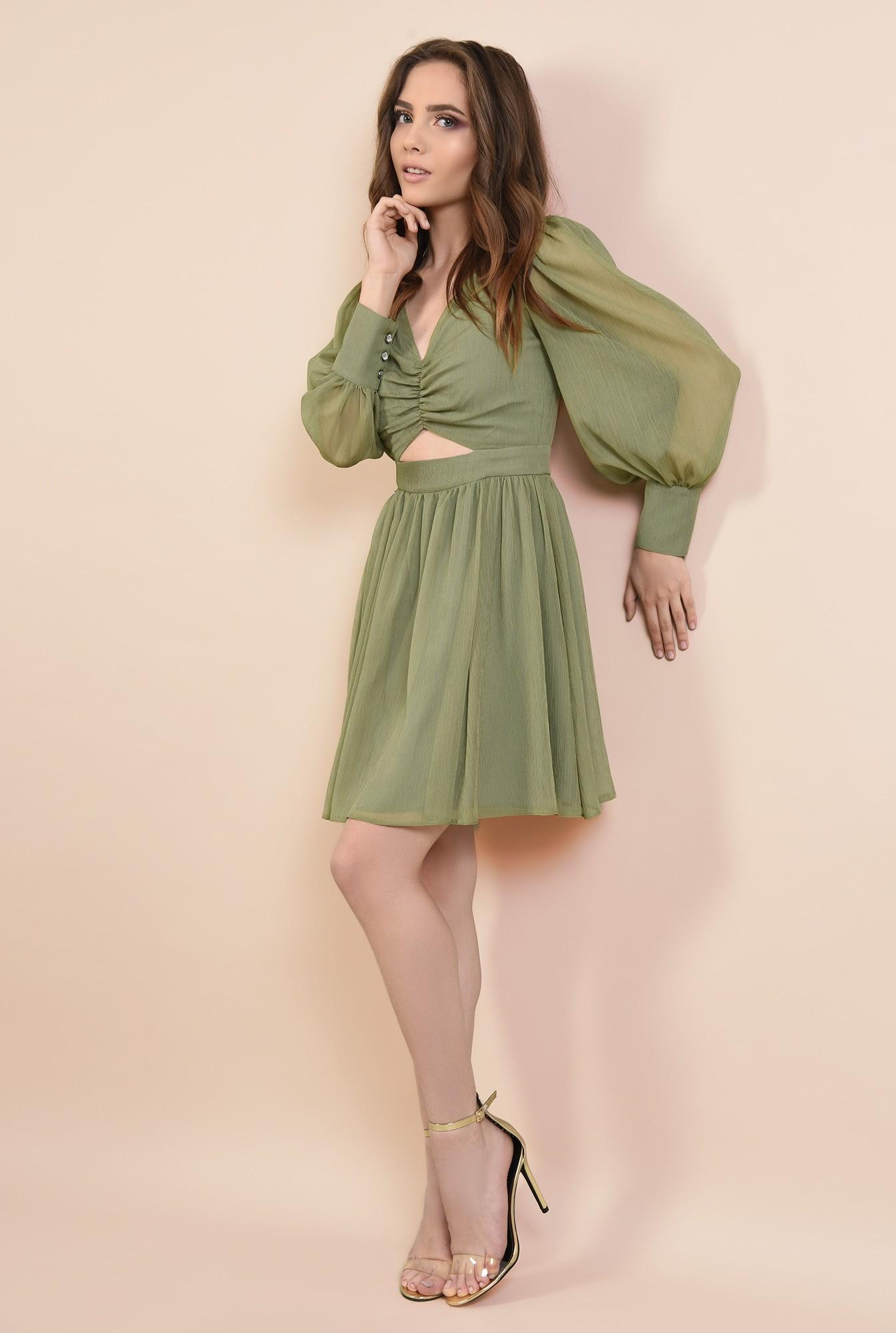 3 - 360 - rochie eleganta, din voal creponat, kaki, scurta, cu decupaj la talie
