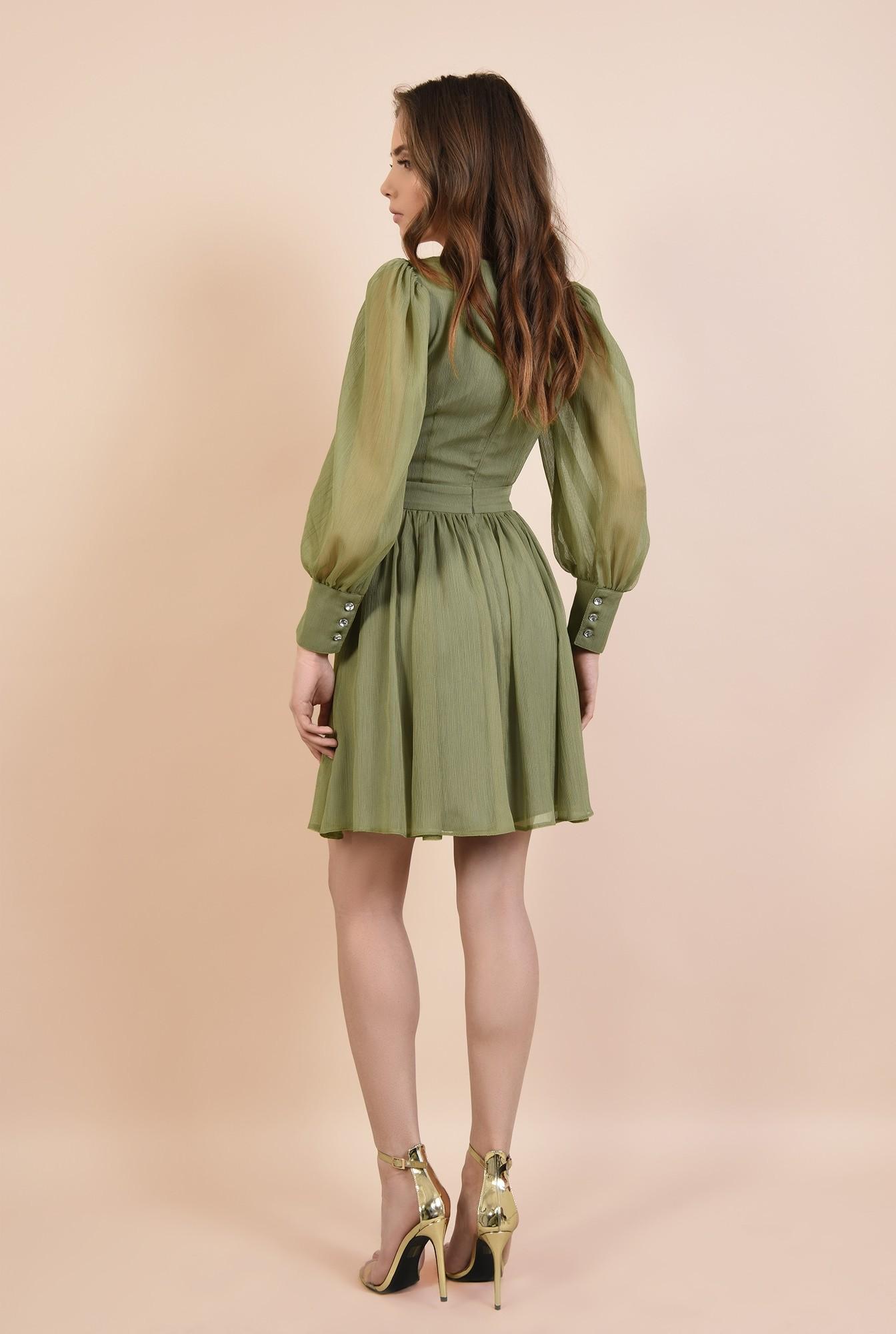 1 - 360 - rochie eleganta, din voal creponat, kaki, scurta, cu decupaj la talie