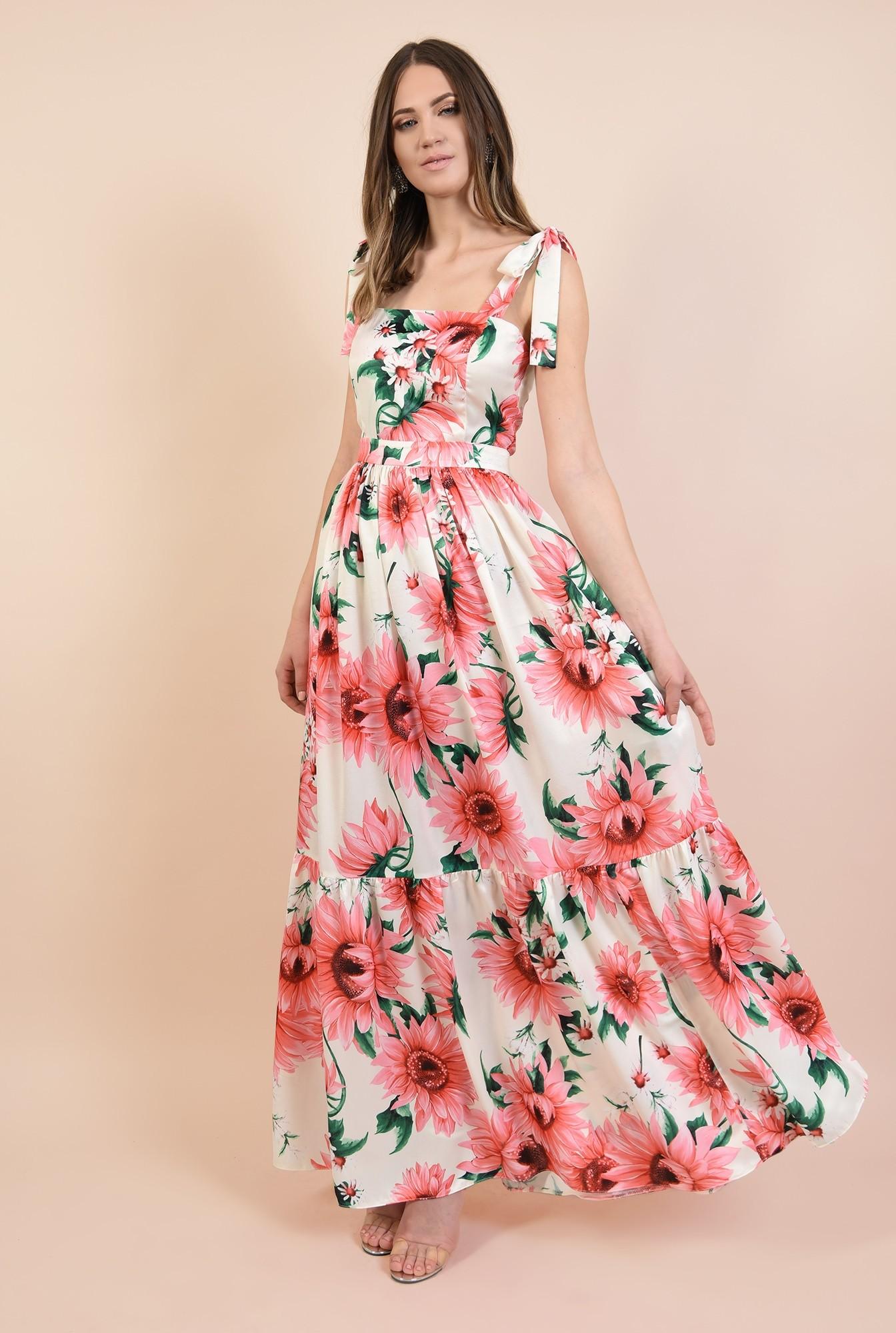 0 - 360 - rochie eleganta, lunga, din satin, cu flori, bretele cu funda