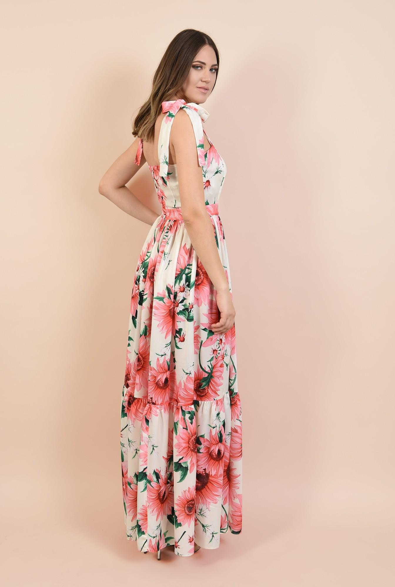 1 - 360 - rochie eleganta, lunga, din satin, cu flori, bretele cu funda