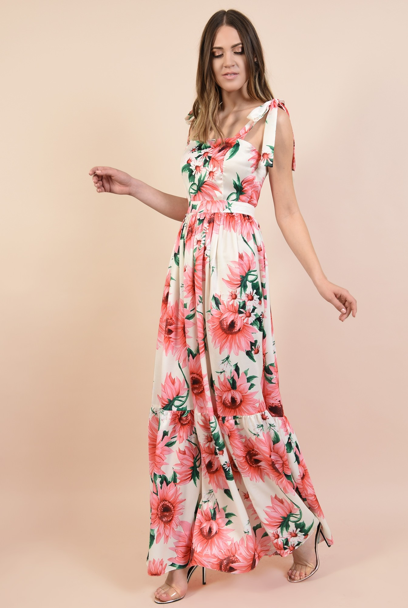 3 - 360 - rochie eleganta, lunga, din satin, cu flori, bretele cu funda
