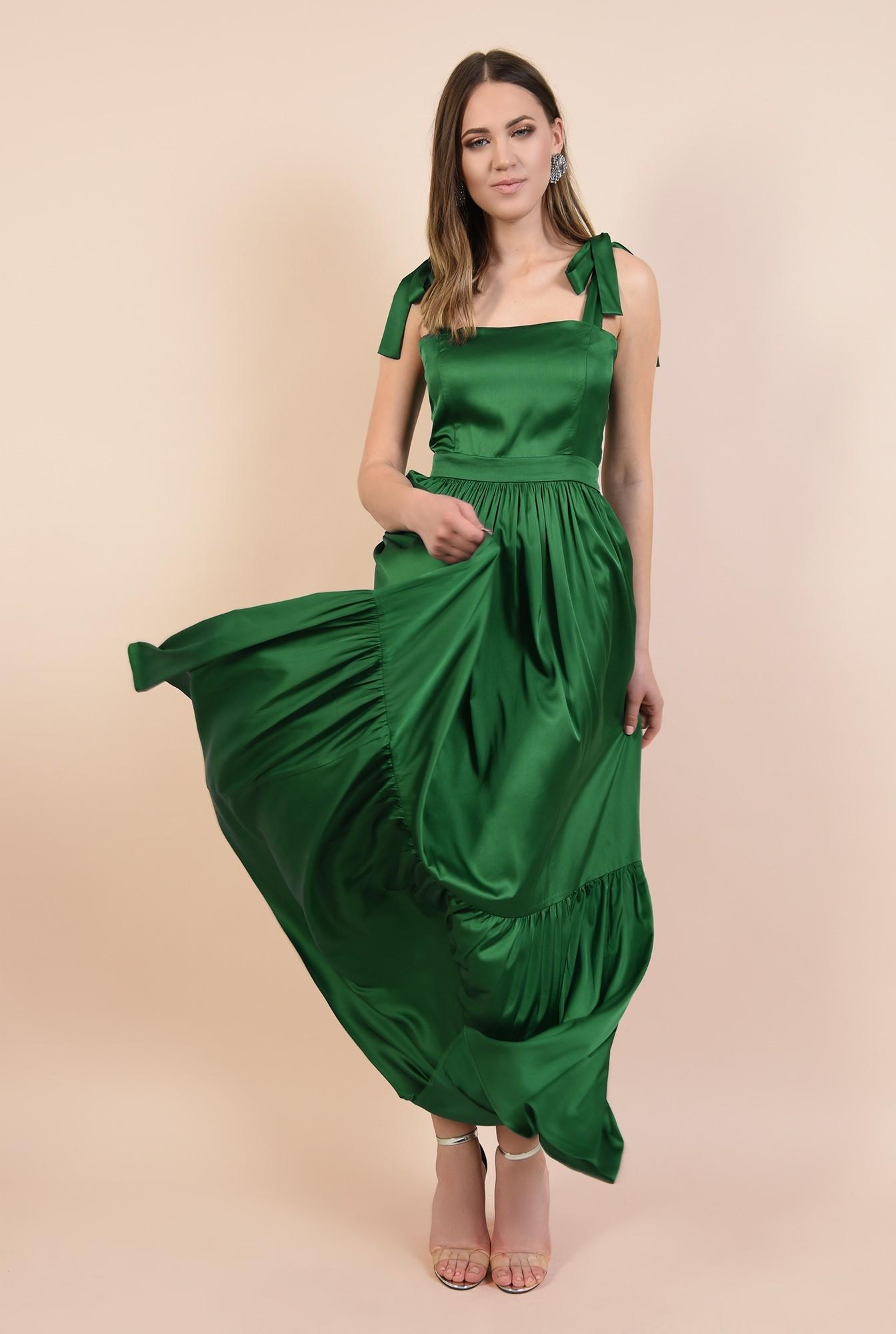 0 - 360 - rochie de seara, din satin, cu volan amplu, funda la umar, talie cu betelie, Poema