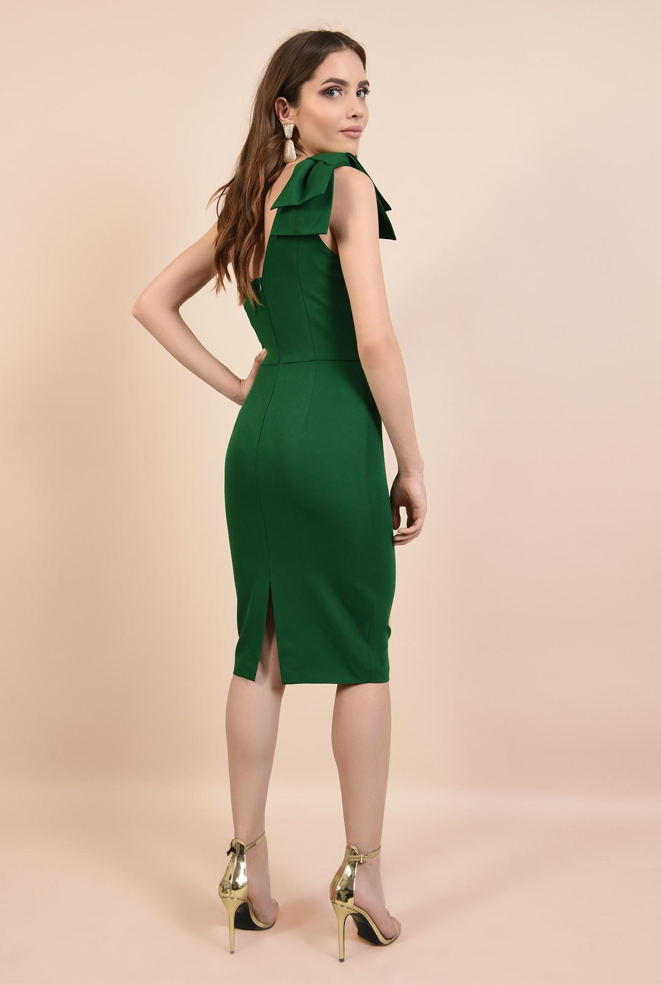 1 - rochie de ocazie, verde, clepsidra, funde la umar, rochii elegante online
