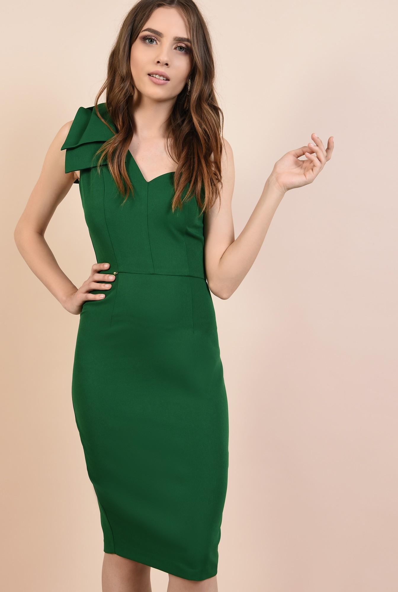 0 - rochie de ocazie, verde, clepsidra, funde la umar, rochii elegante online