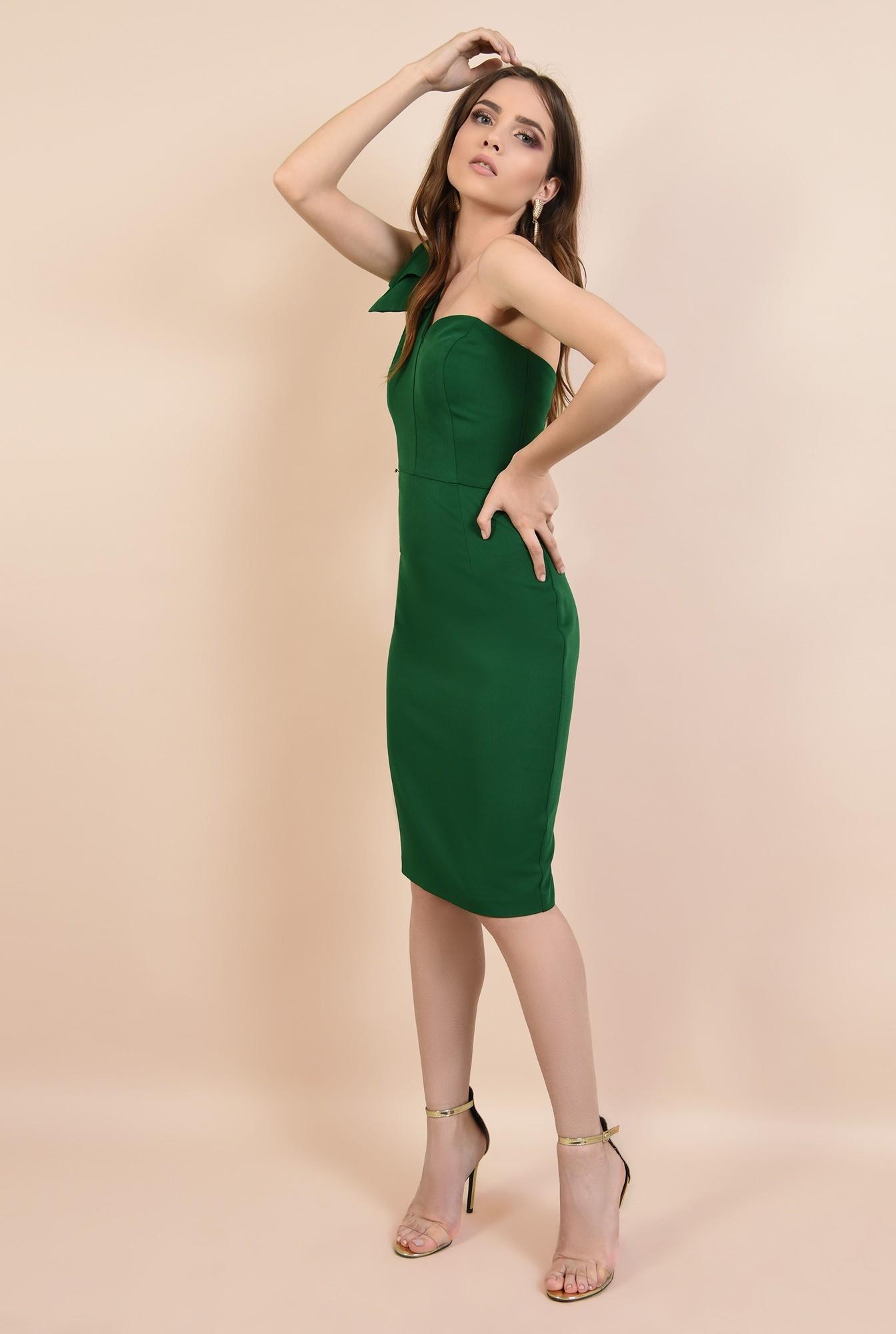 3 - rochie de ocazie, verde, clepsidra, funde la umar, rochii elegante online