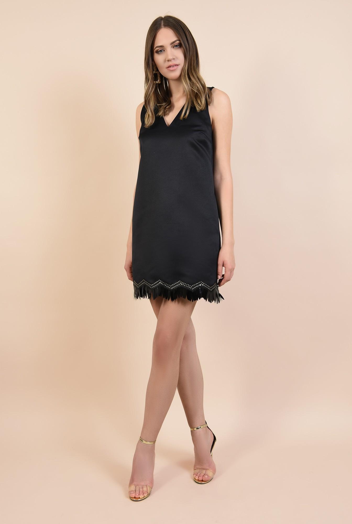 3 - rochie din tafta, mini, cu pasmanterie, croi drept, fara maneci