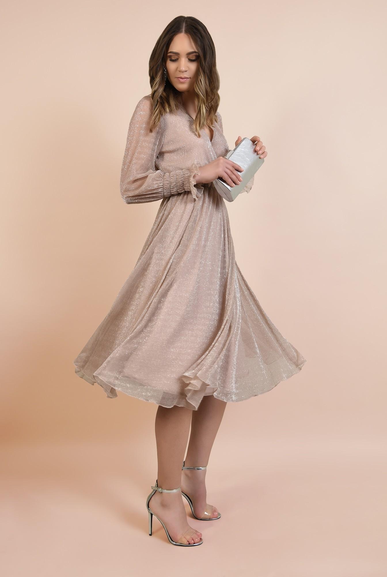 3 - 360 - rochie de seara, midi, clos, anchior petrecut, mansete fantezie