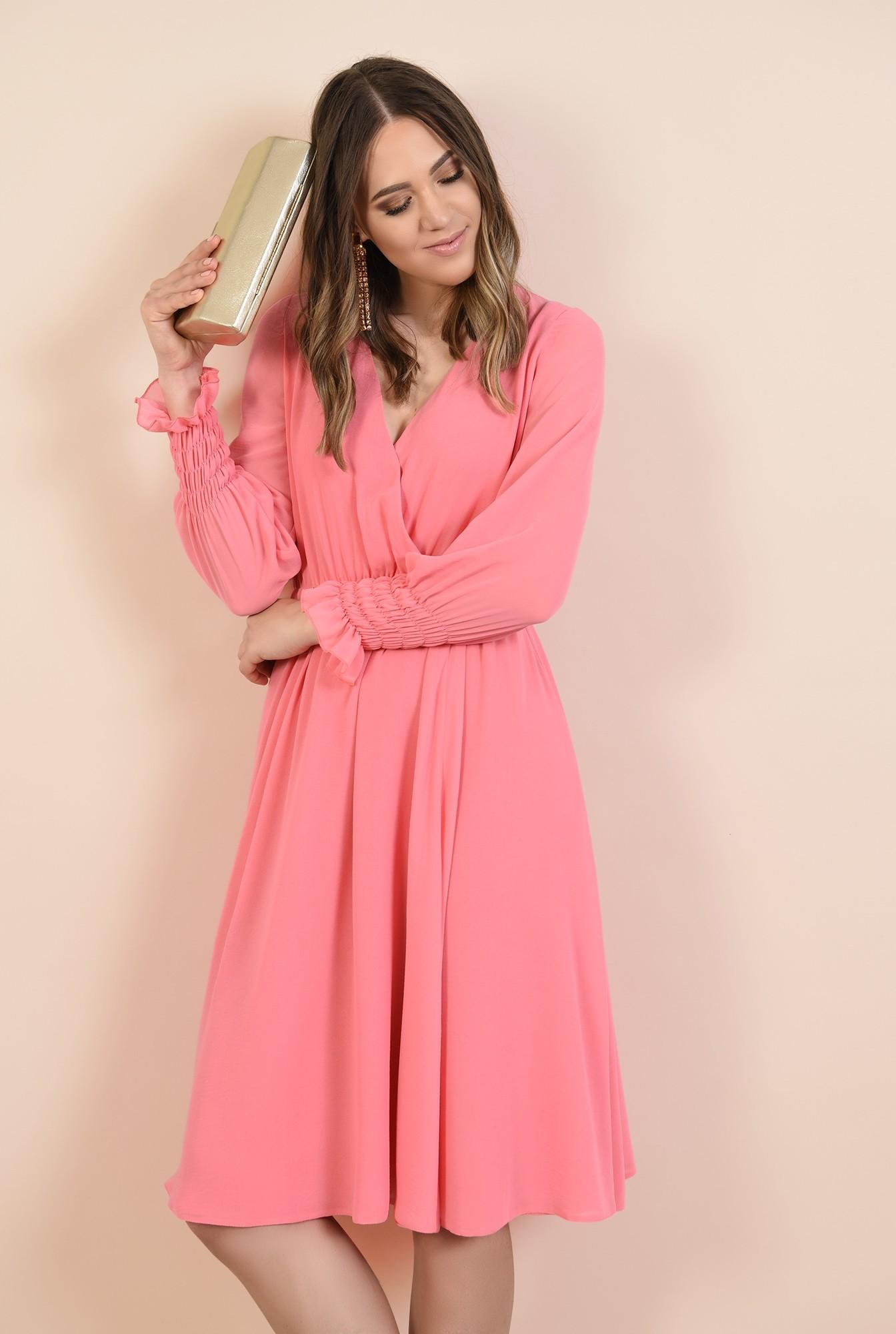 0 - 360 - rochie roz, midi, evazata, maneci lungi cu mansete elastice, Poema