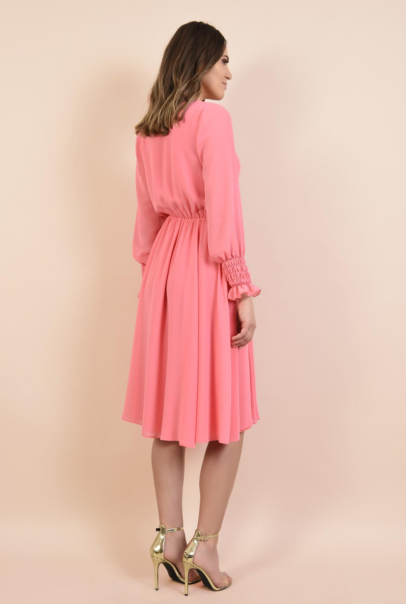 1 - 360 - rochie roz, midi, evazata, maneci lungi cu mansete elastice, Poema