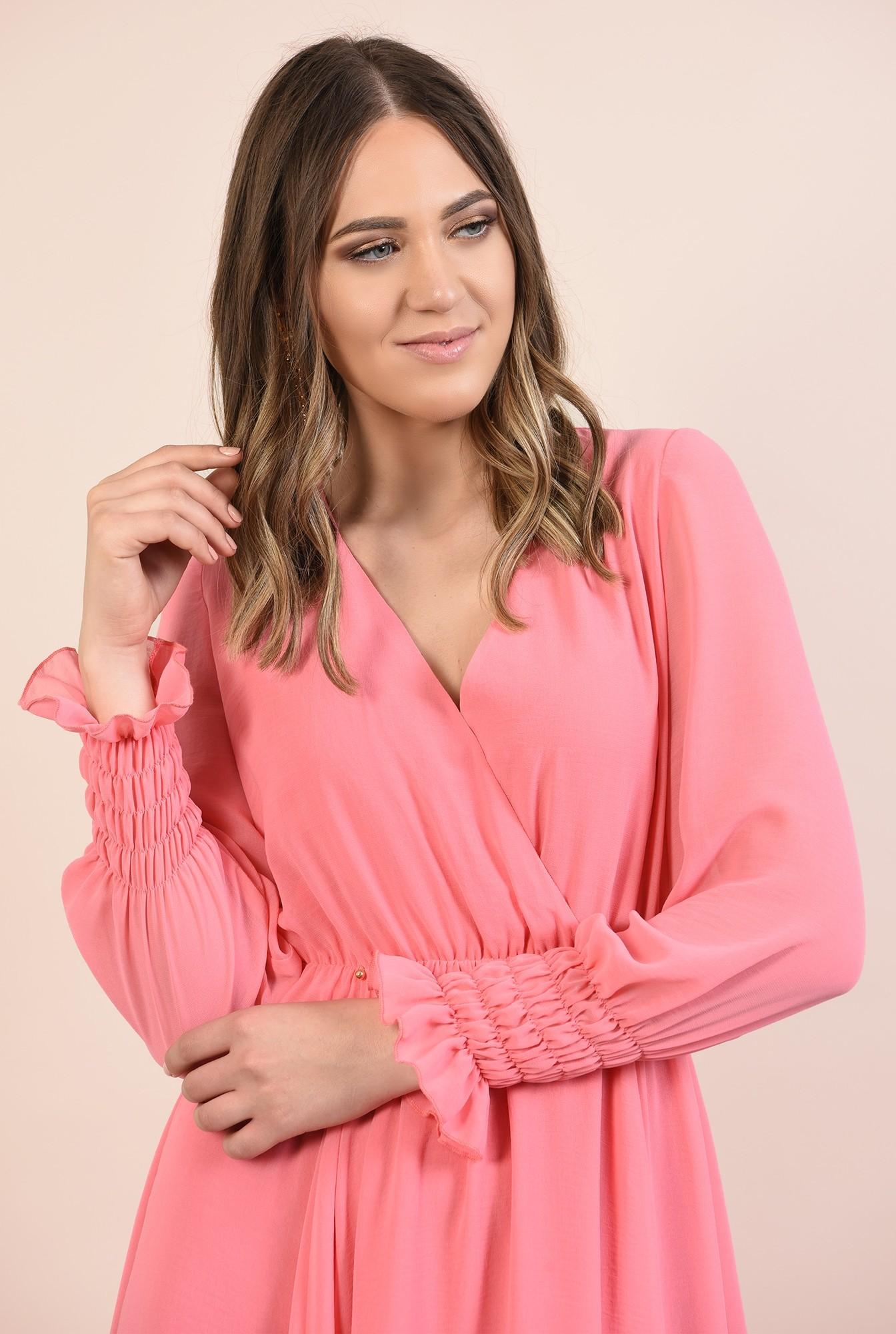 2 - 360 - rochie roz, midi, evazata, maneci lungi cu mansete elastice, Poema