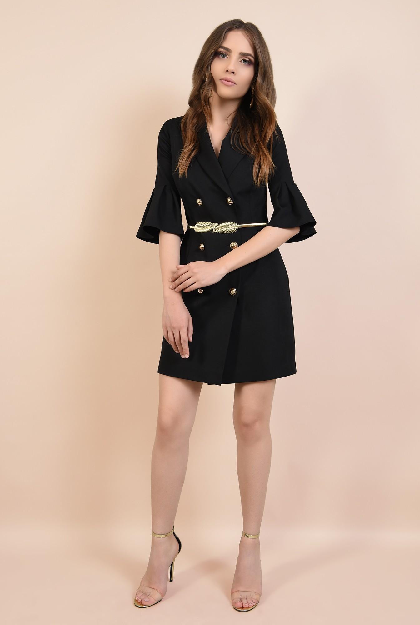 3 - rochie de seara, mini, neagra, maneci peplum, revere crestate