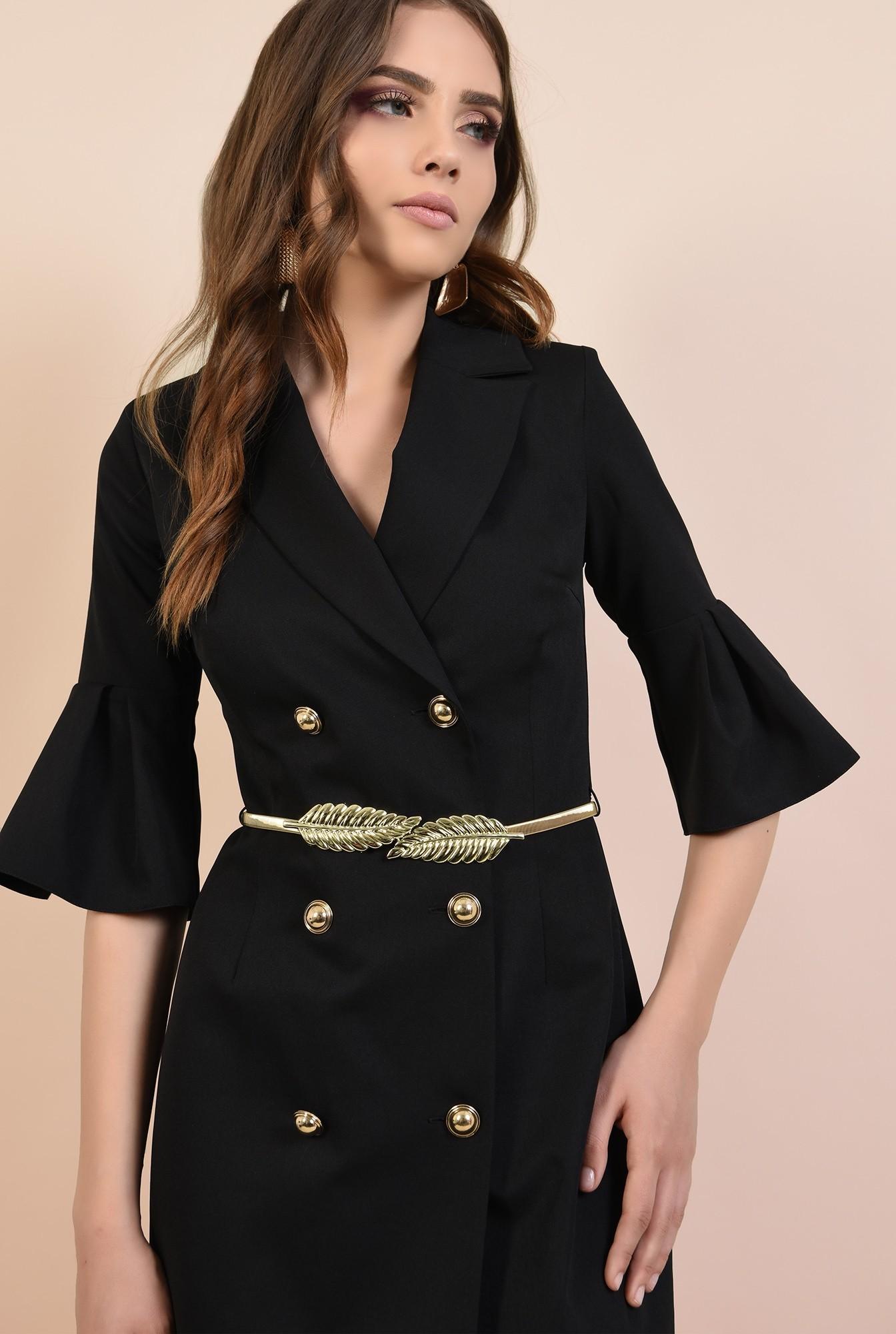 2 - rochie de seara, mini, neagra, maneci peplum, revere crestate