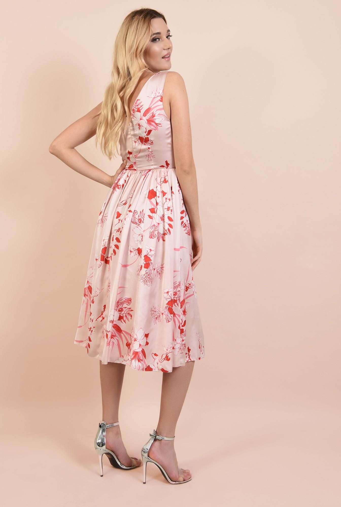1 - 360 - rochie midi, eleganta, clos, cu imprimeu floral, anchior