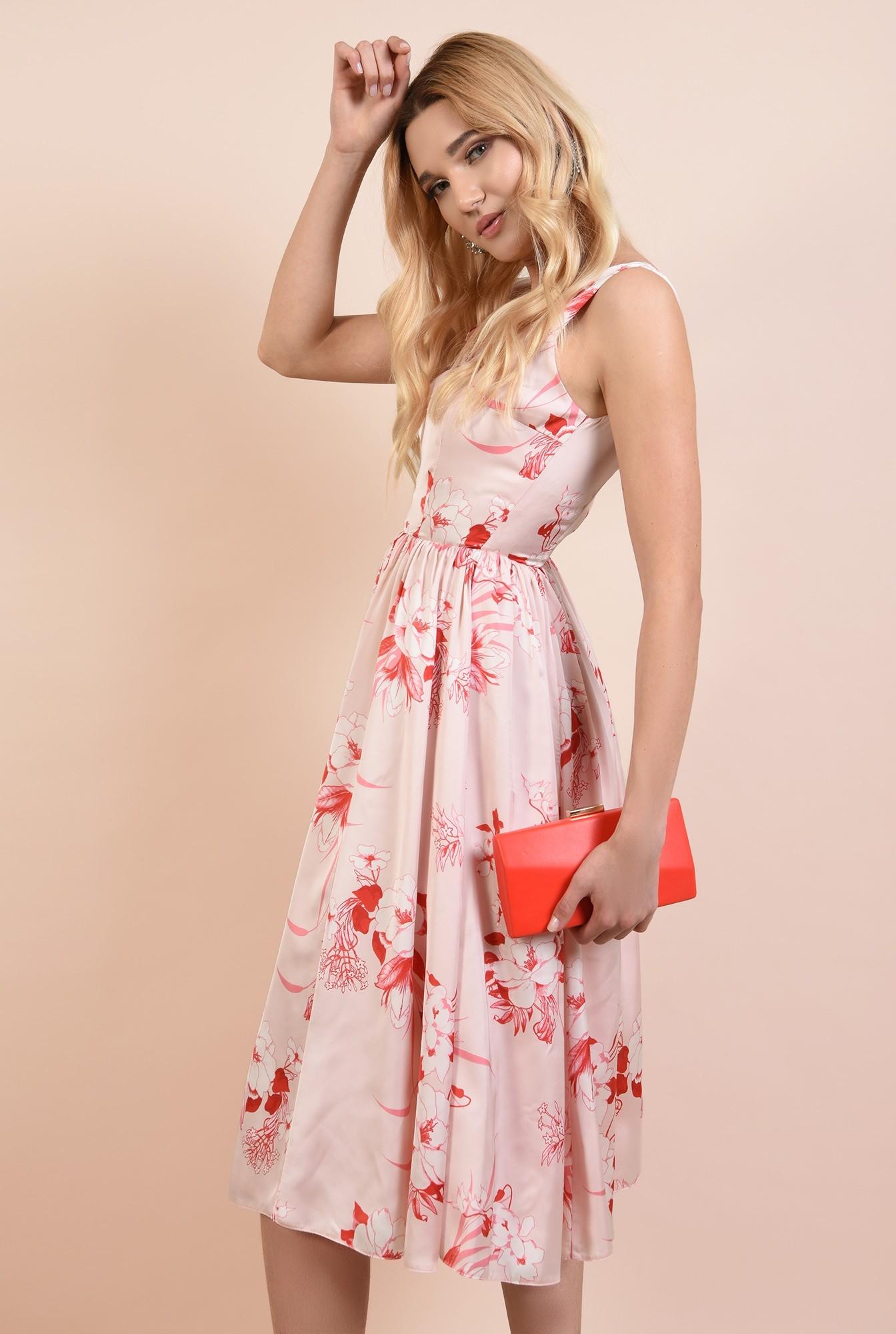 0 - 360 - rochie midi, eleganta, clos, cu imprimeu floral, anchior