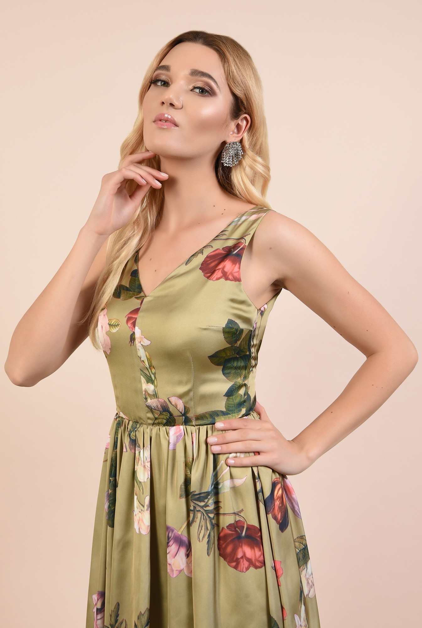 2 - 360 - rochie eleganta, midi, cu imprimeu floral, anchior fata si spate, Poema
