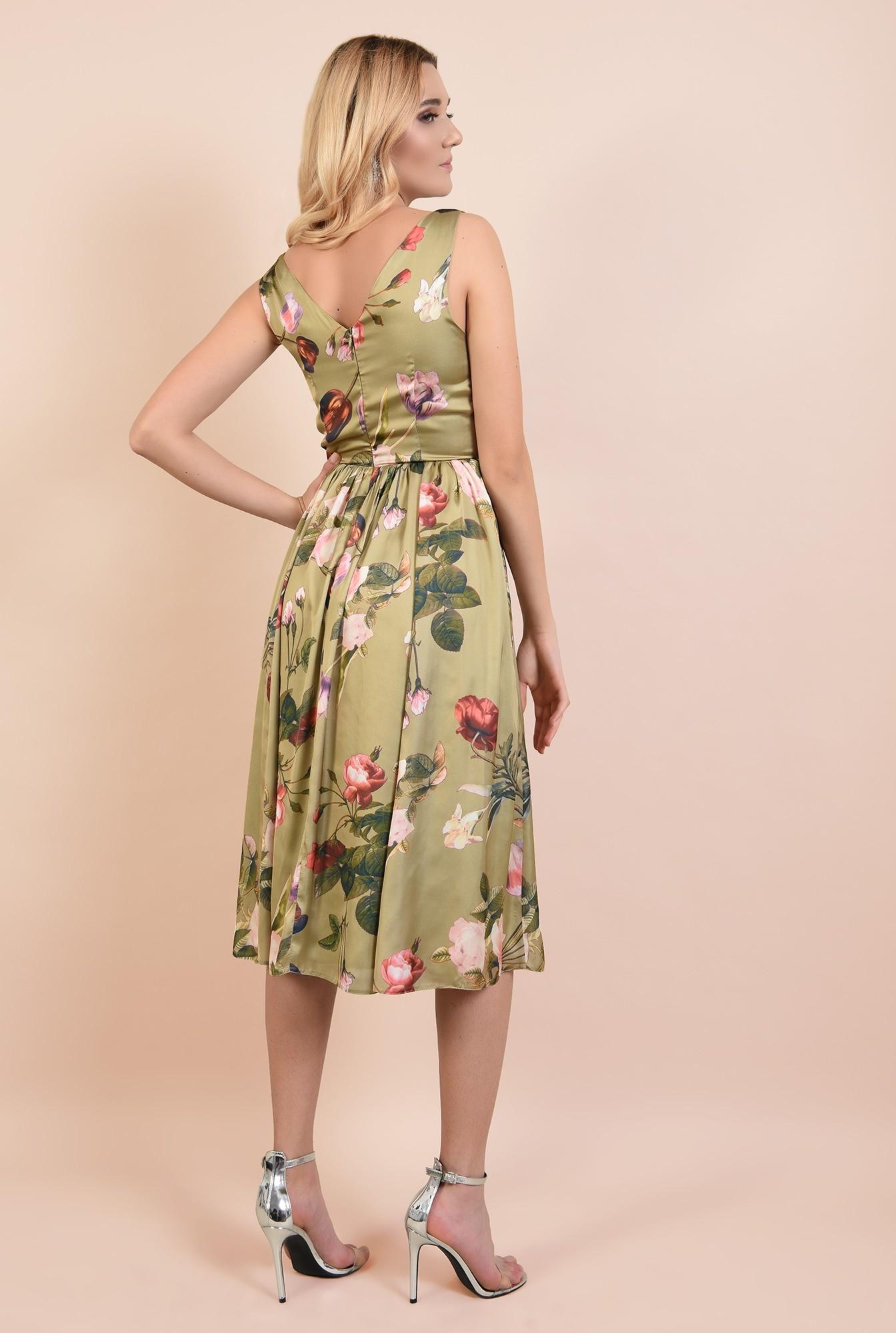 1 - 360 - rochie eleganta, midi, cu imprimeu floral, anchior fata si spate, Poema
