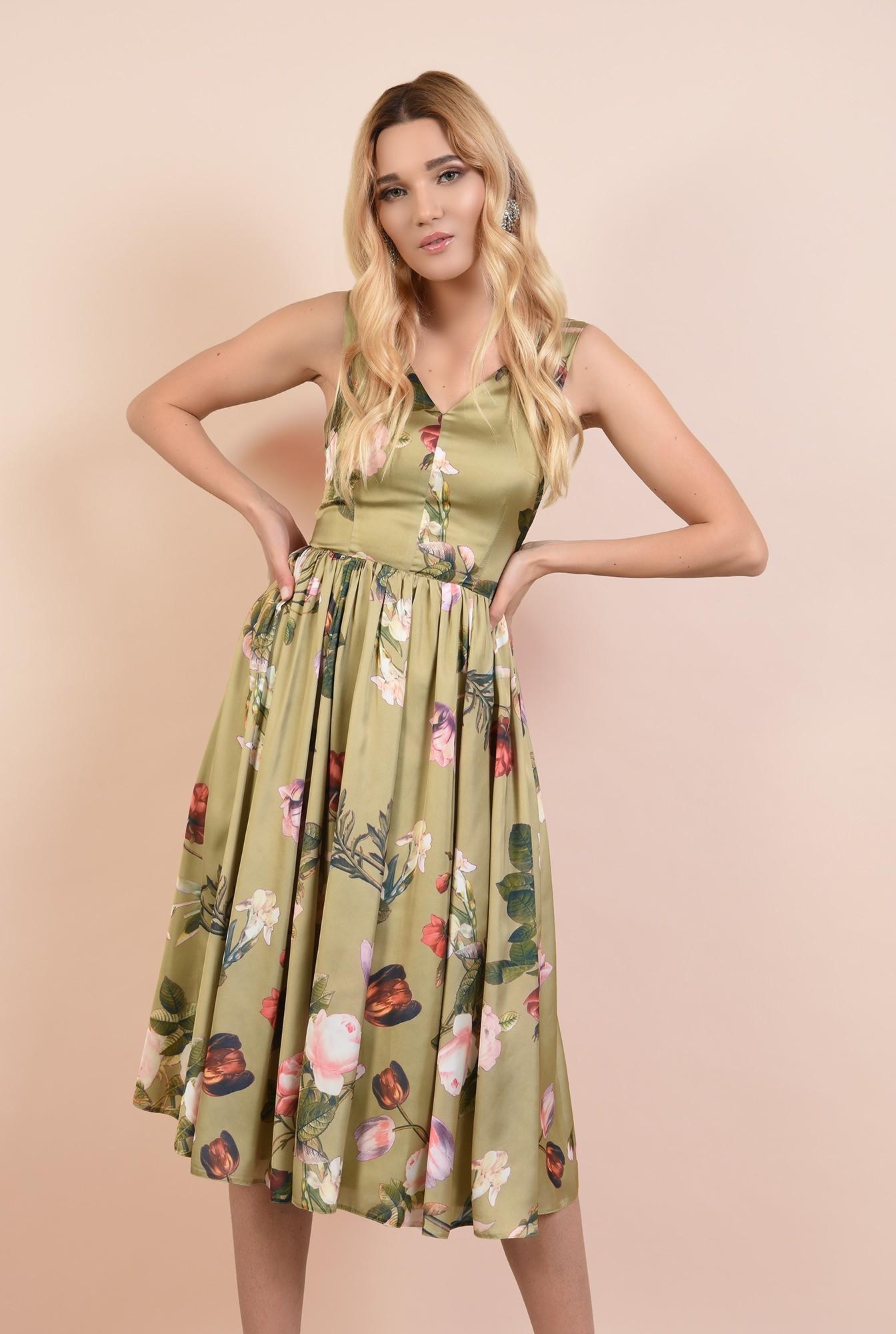 0 - 360 - rochie eleganta, midi, cu imprimeu floral, anchior fata si spate, Poema