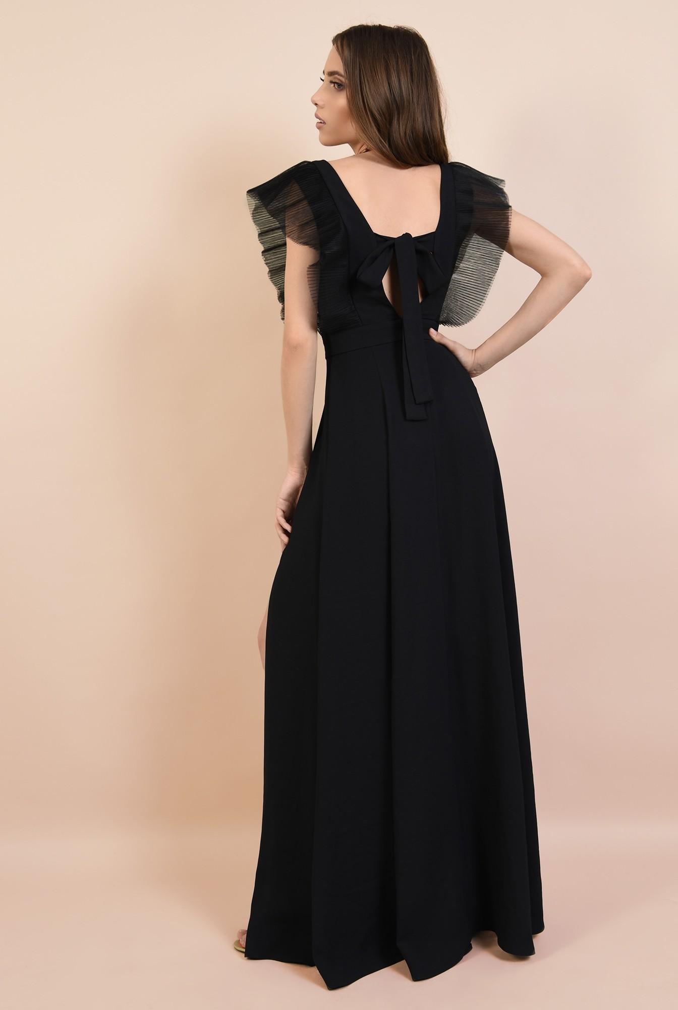 1 - rochie de ocazie, neagra, lunga, cu volane din tul, Poema, slit adanc