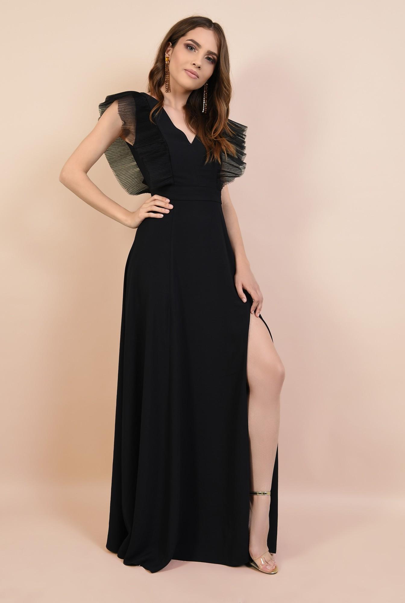 3 - rochie de ocazie, neagra, lunga, cu volane din tul, Poema, slit adanc