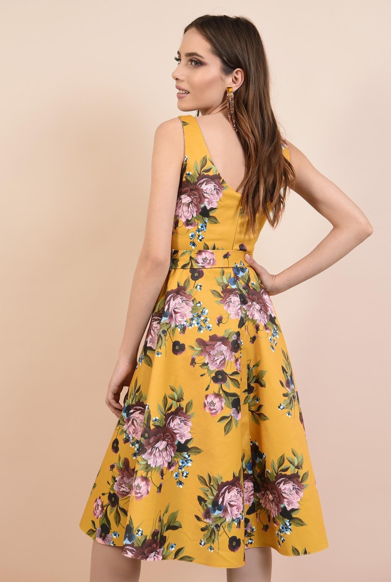 1 - rochie de seara, cu croi evazata, imprimeu floral, cordon cu funda la talie