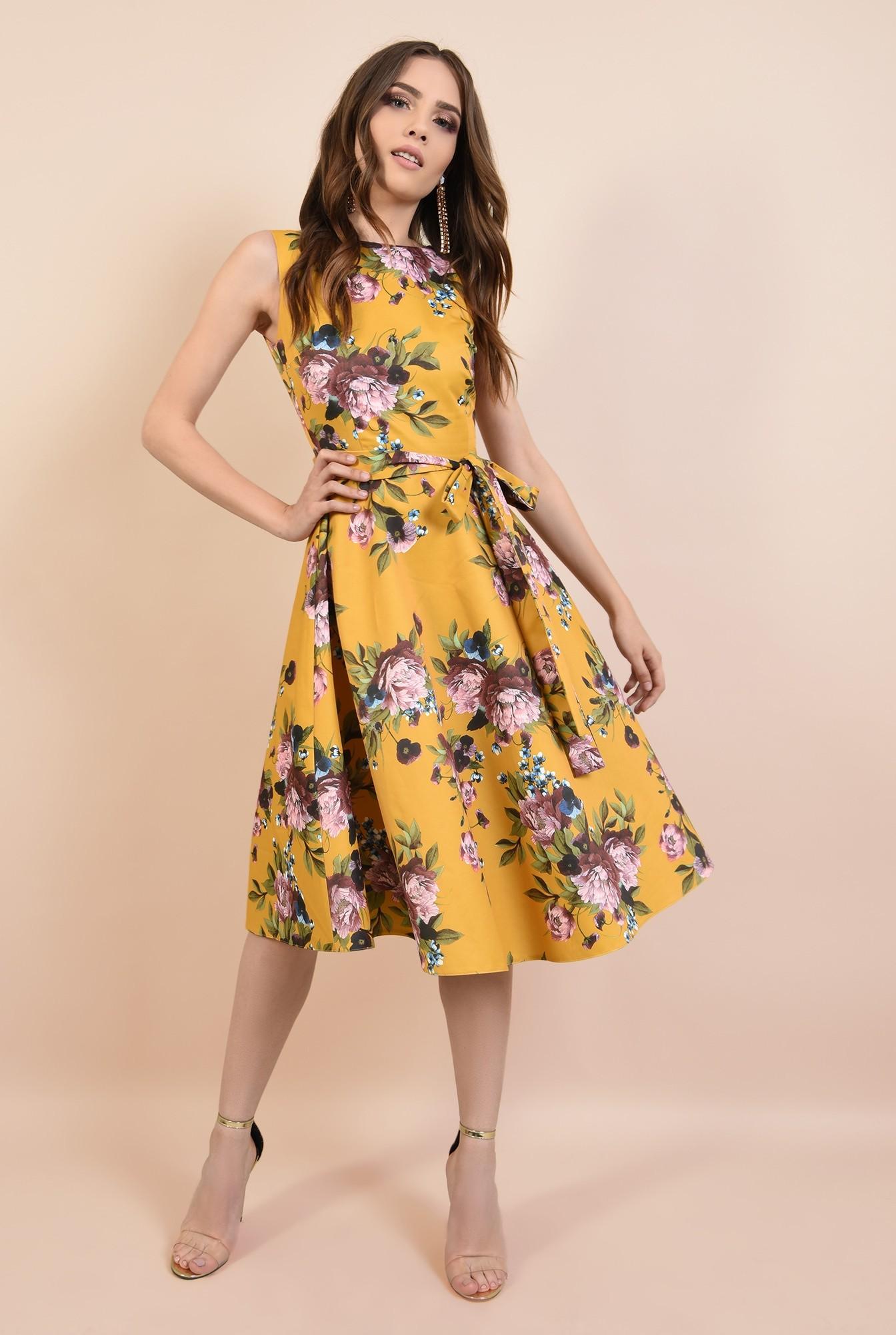 3 - rochie de seara, cu croi evazata, imprimeu floral, cordon cu funda la talie