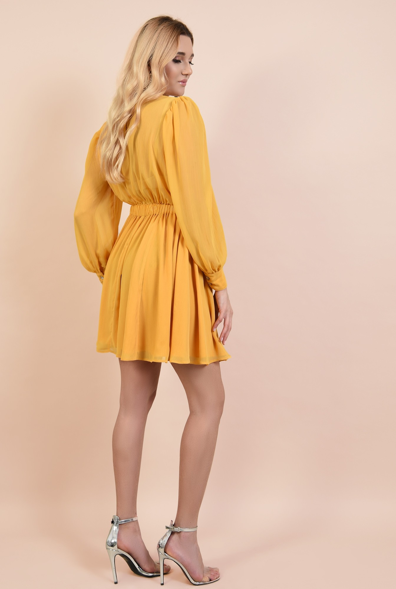 1 - rochie de ocazie, evazata, talie pe elastic, maneci bufante cu manseta