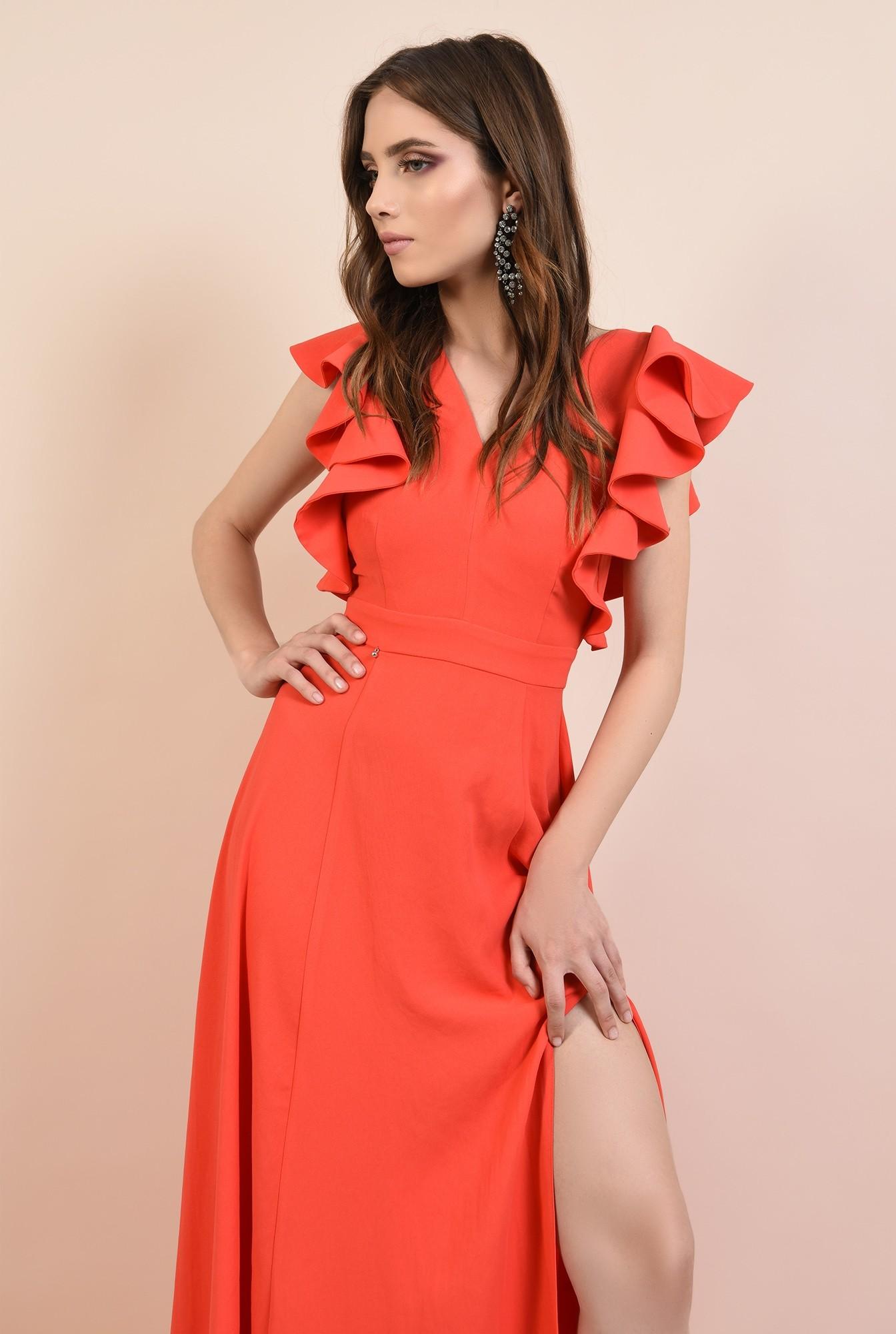 2 - rochie lunga, rosie, cu crapeu, cu volane la maneci, Poema