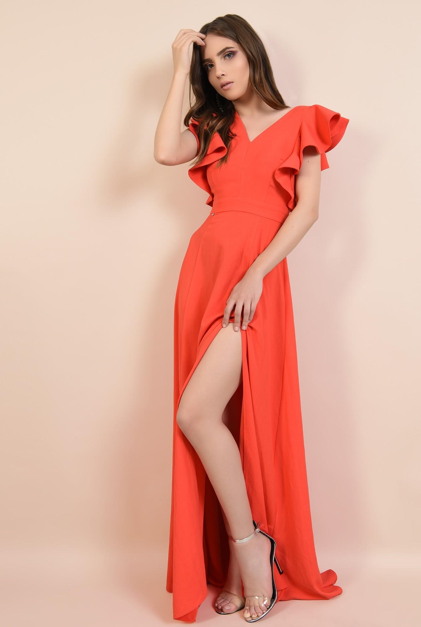 0 - rochie lunga, rosie, cu crapeu, cu volane la maneci, Poema