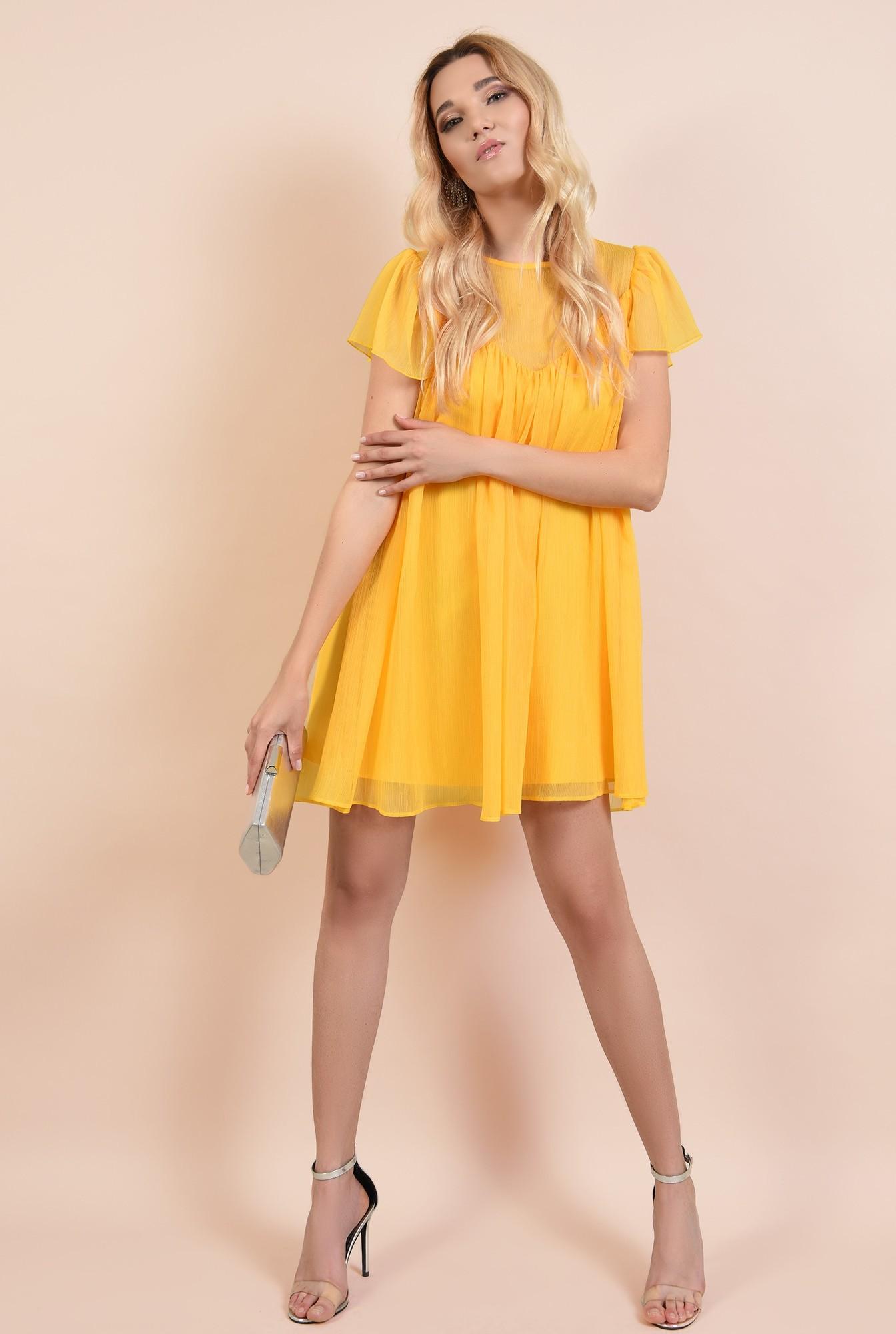 3 - rochie eleganta din voal, rochii online, croi lejer, scurta, maneci evazate