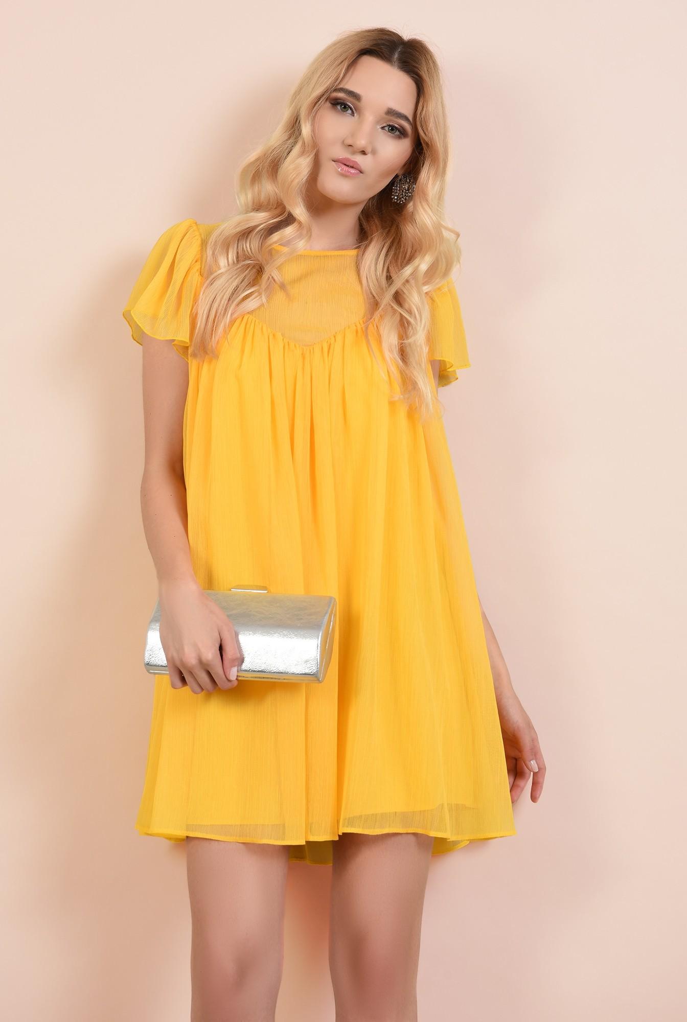 0 - rochie eleganta din voal, rochii online, croi lejer, scurta, maneci evazate